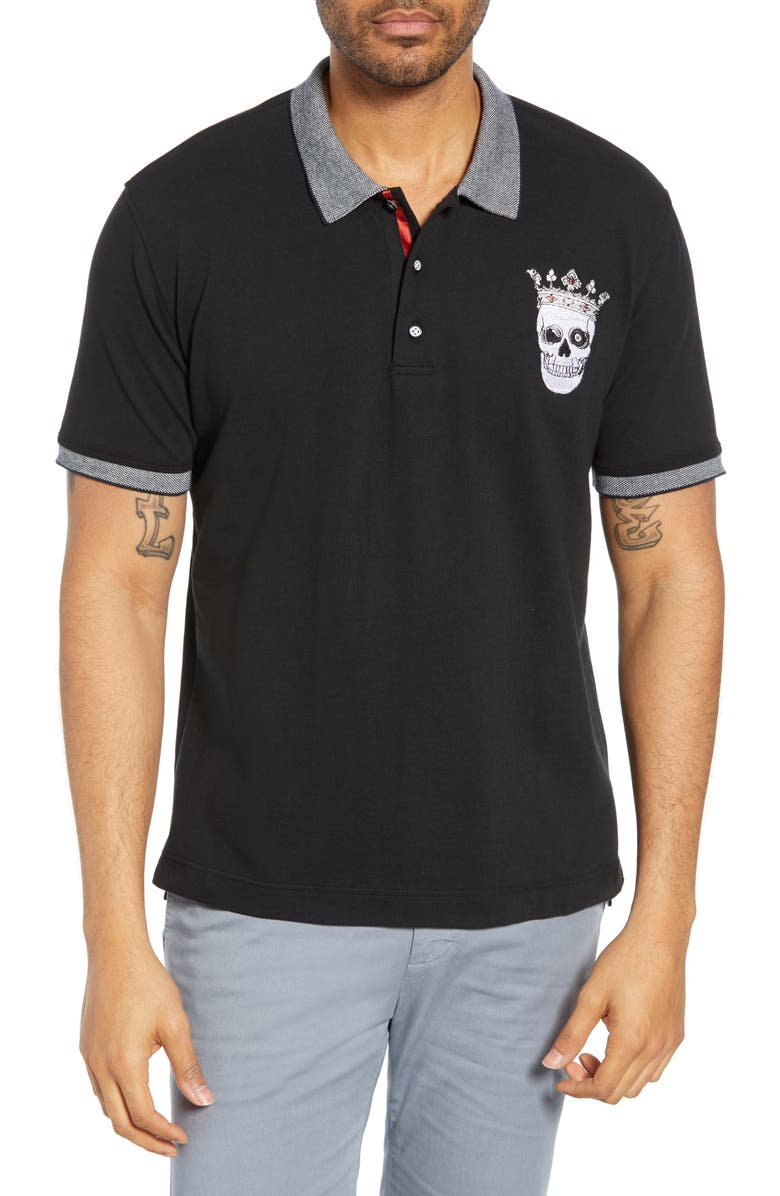 Robert Graham Tops SKULL KING EMBROIDERED CLASSIC FIT PIQUE POLO