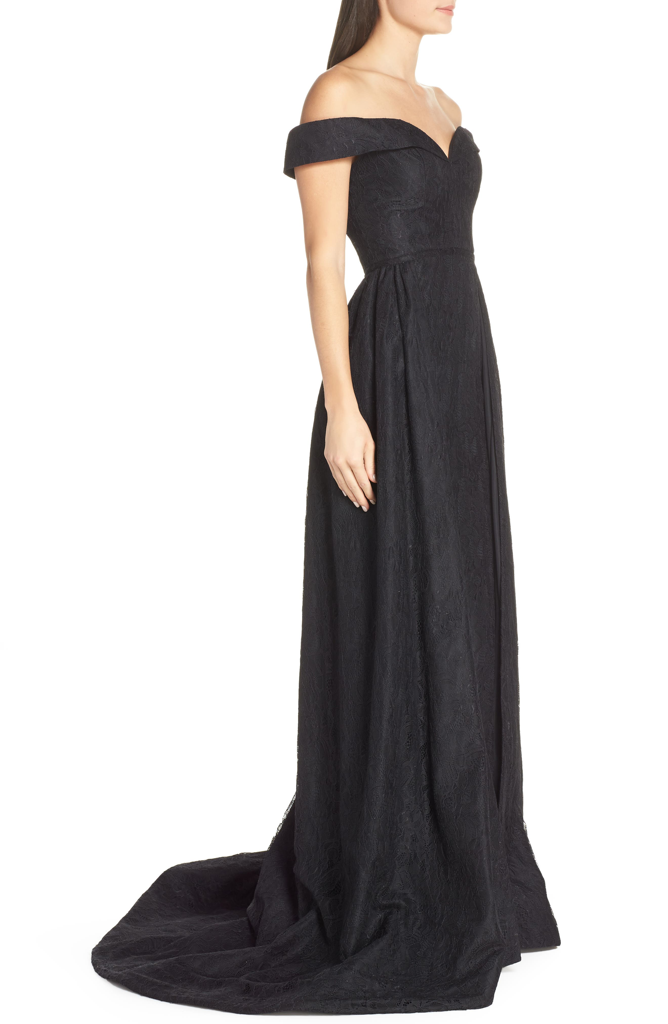 MAC DUGGAL, Off the Shoulder Lace Evening Dress, Alternate thumbnail 4, color, BLACK