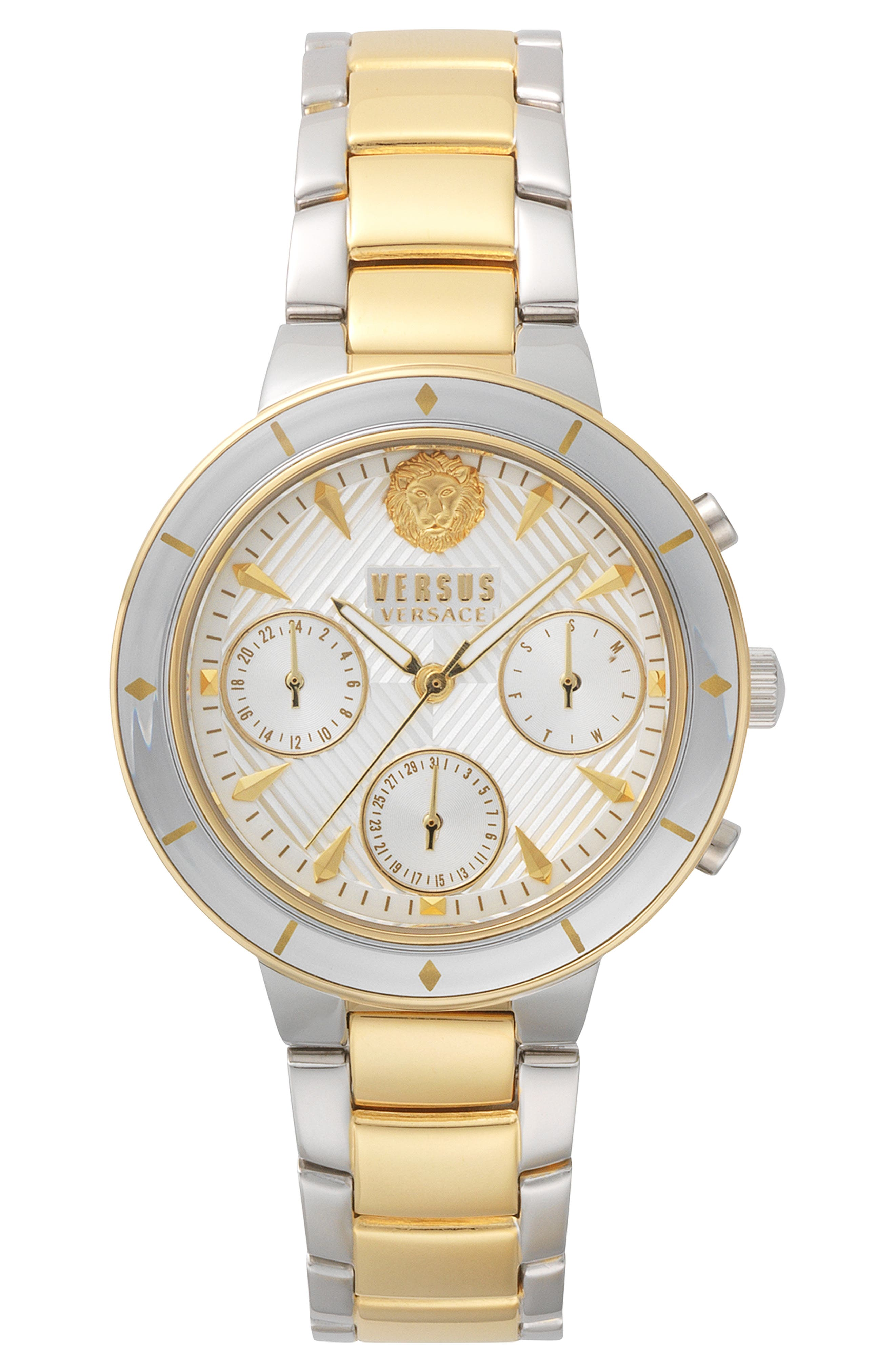 VERSUS VERSACE, Harbour Heights Chronograph Bracelet Watch, 38mm, Main thumbnail 1, color, SILVER/ GOLD