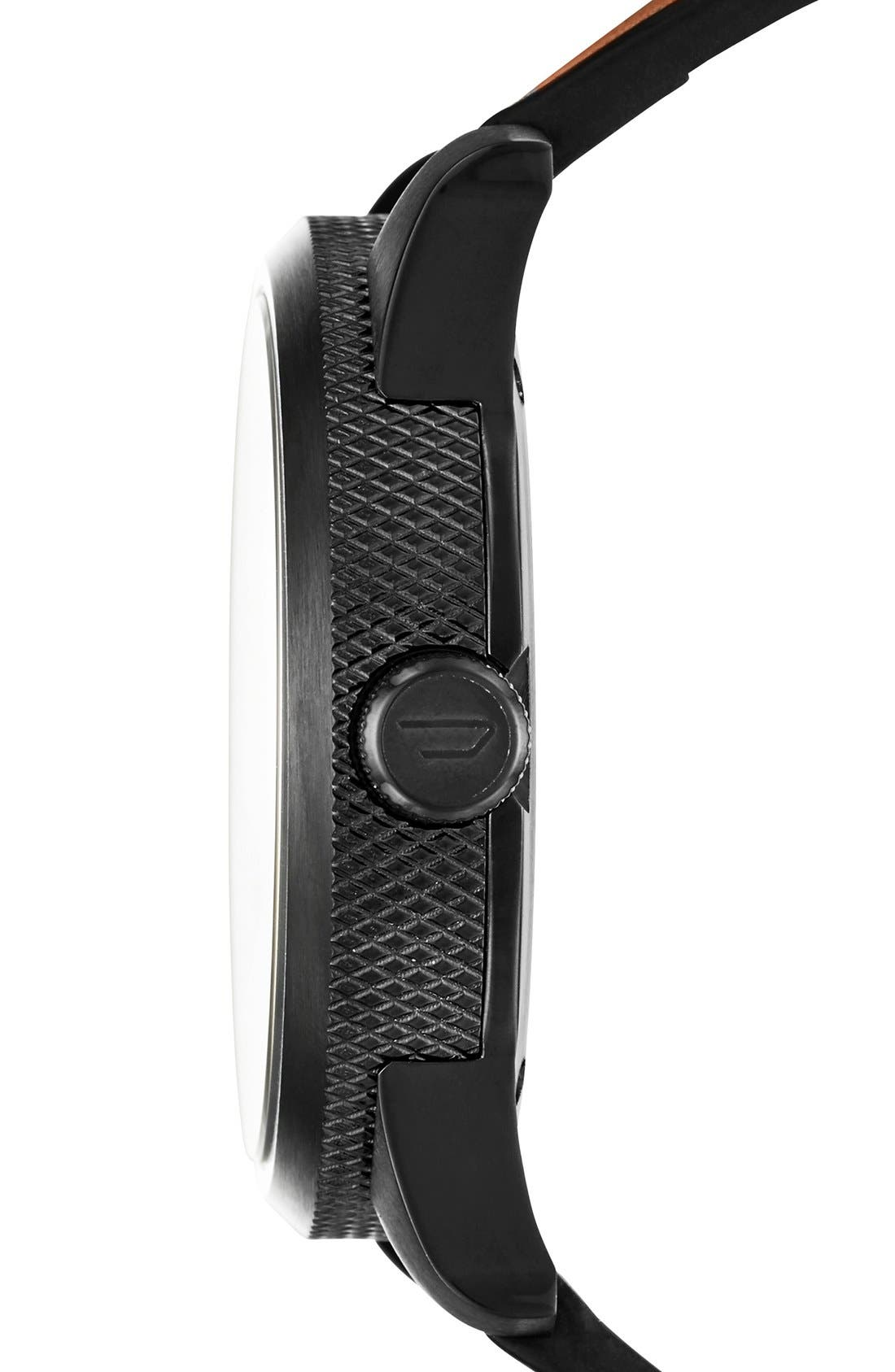DIESEL<SUP>®</SUP>, 'The Rasp' Leather Strap Watch, 46mm, Alternate thumbnail 3, color, BLACK