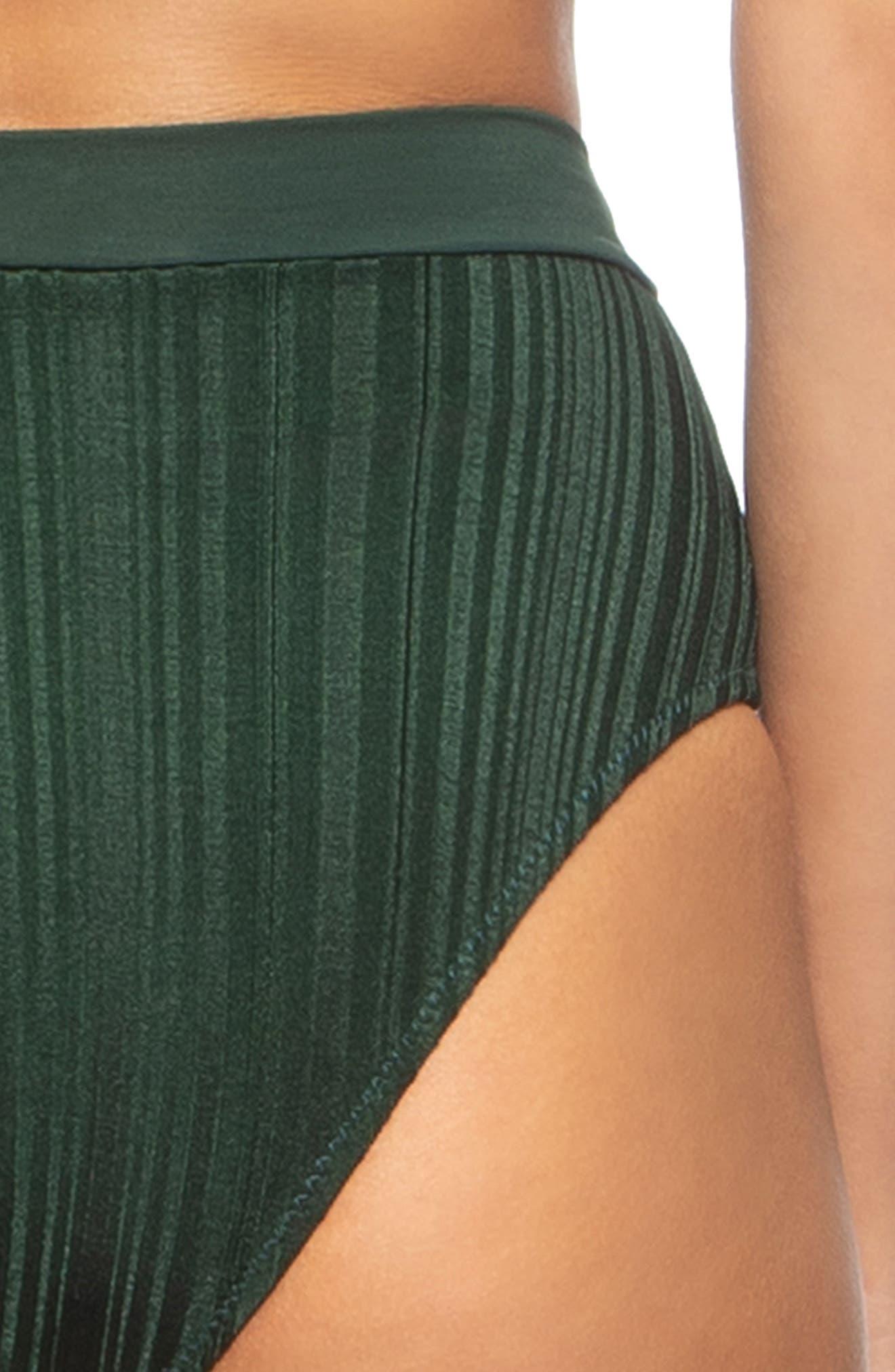 TAVIK, Pernille High Waist Bikini Bottoms, Alternate thumbnail 4, color, PINE GREEN