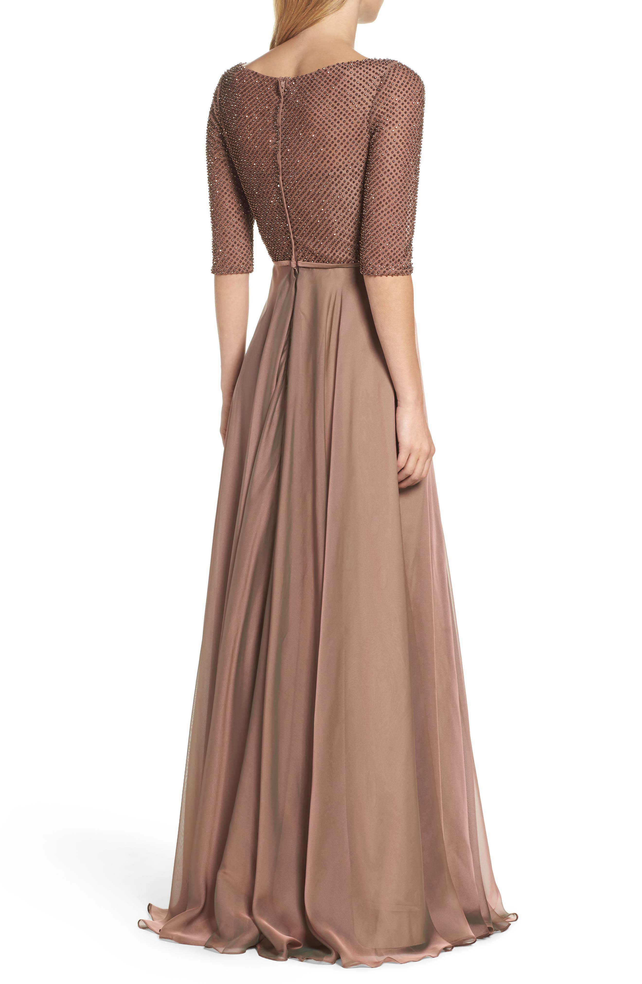 LA FEMME, Embellished Bodice Gown, Alternate thumbnail 2, color, COCOA