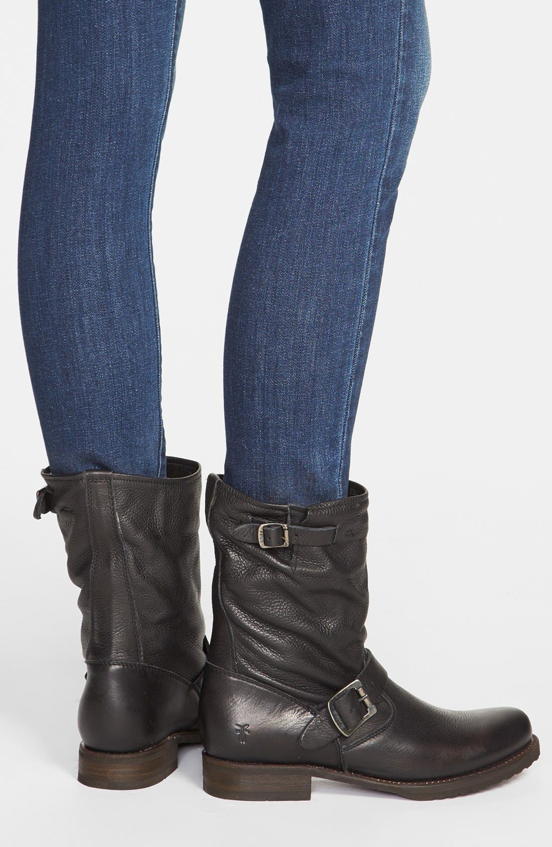 FRYE, 'Veronica Short' Slouchy Boot, Alternate thumbnail 6, color, BLACK LEATHER