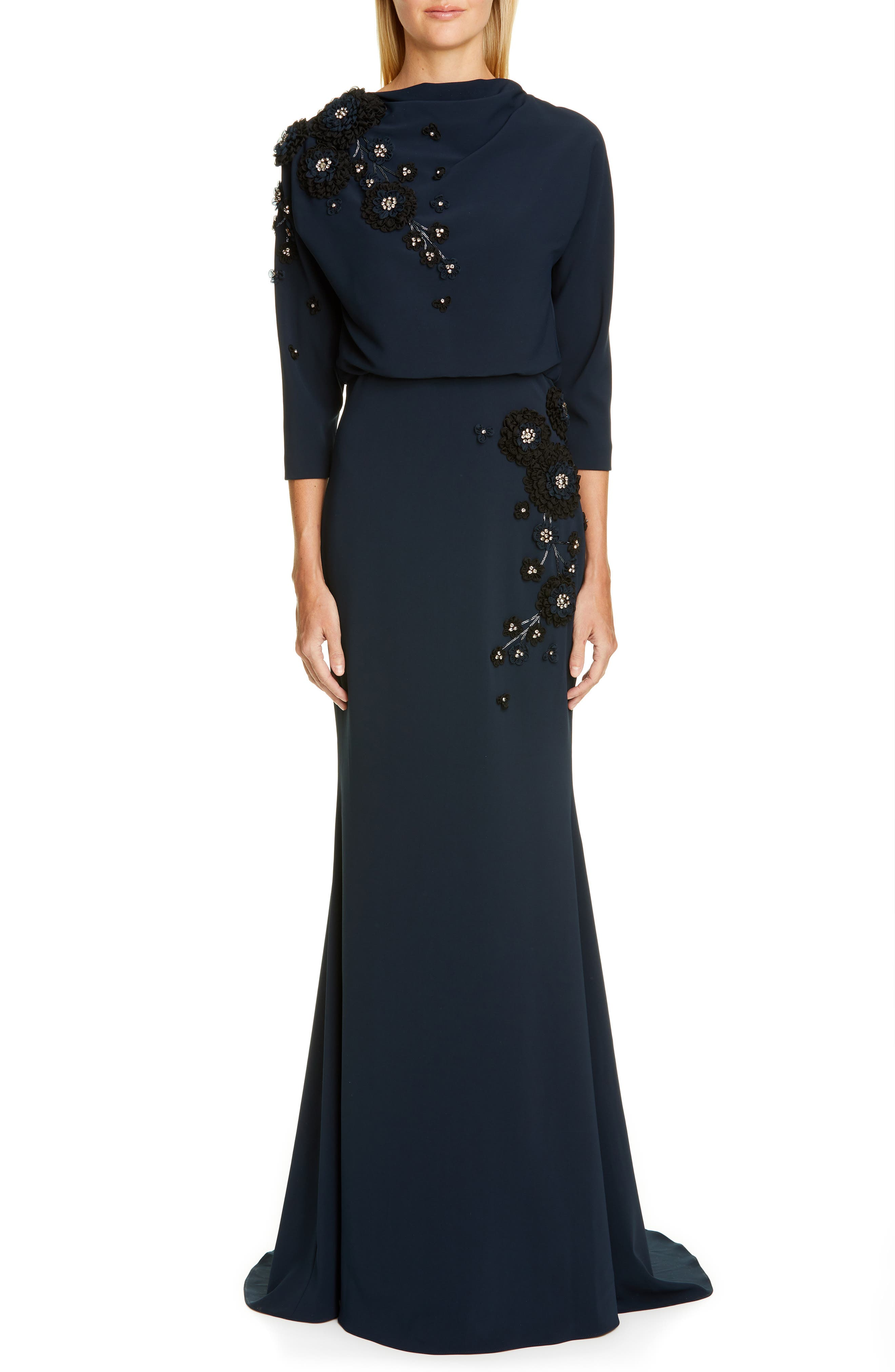 Badgley Mischka Couture Embellished Blouson Gown, Blue