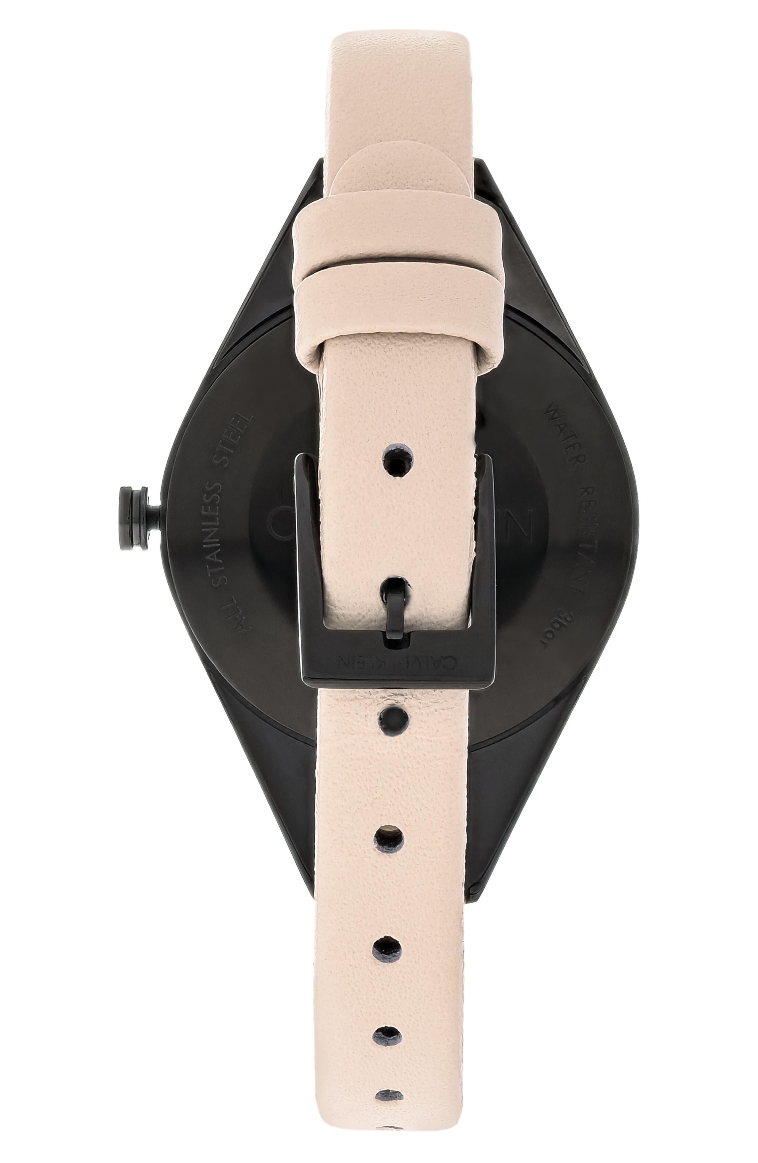 CALVIN KLEIN, Achieve Rebel Leather Band Watch, 29mm, Alternate thumbnail 2, color, CREAM/ BLACK