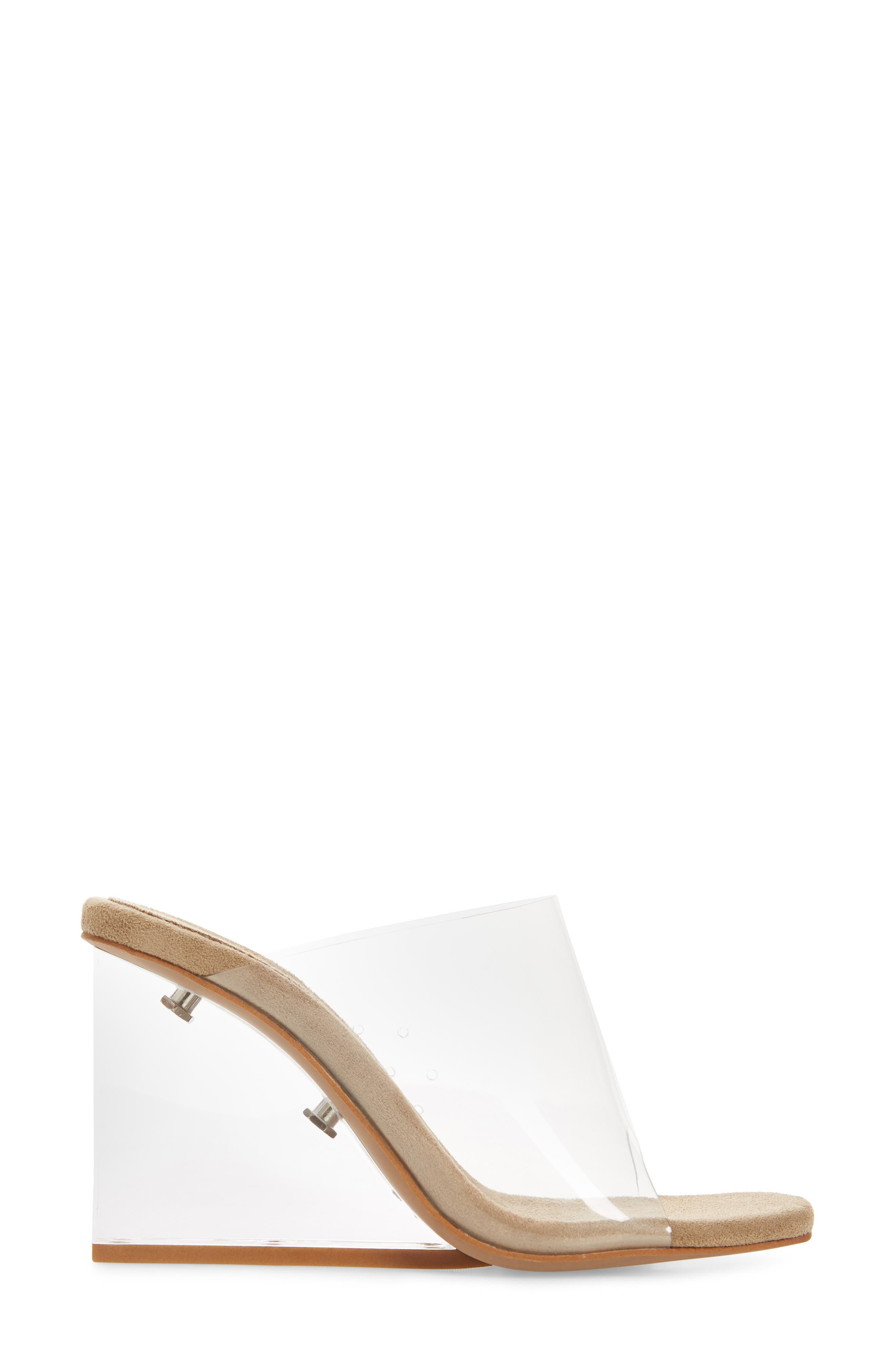 JEFFREY CAMPBELL, Clear Wedge Mule, Alternate thumbnail 3, color, CLEAR FAUX LEATHER