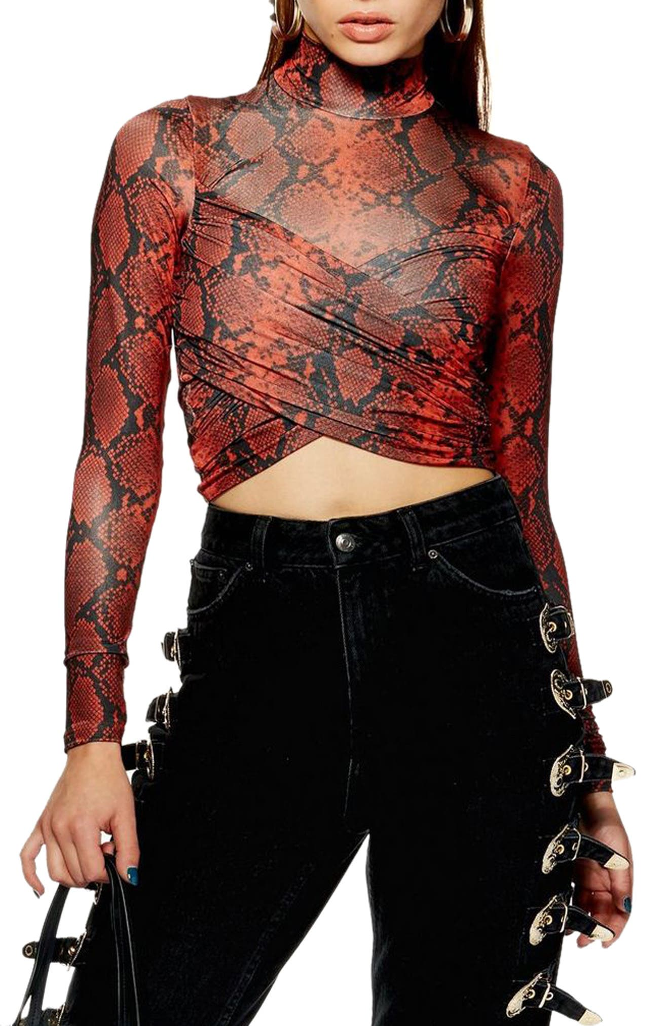 TOPSHOP, Snake Wrap High Neck Top, Main thumbnail 1, color, RED MULTI