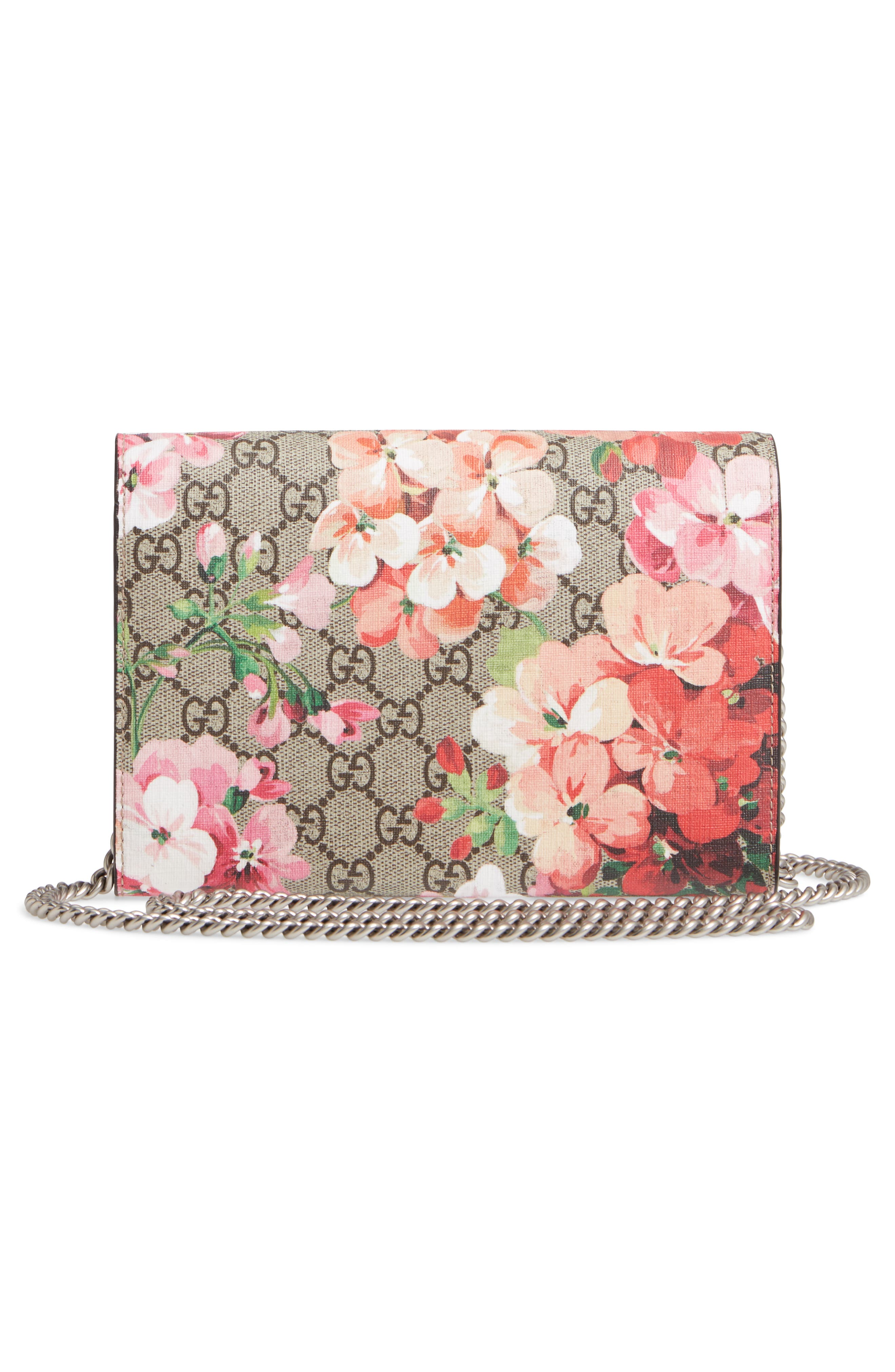 GUCCI, Blooms GG Supreme Canvas Wallet on a Chain, Alternate thumbnail 3, color, BEIGE EBONY/ DRY ROSE