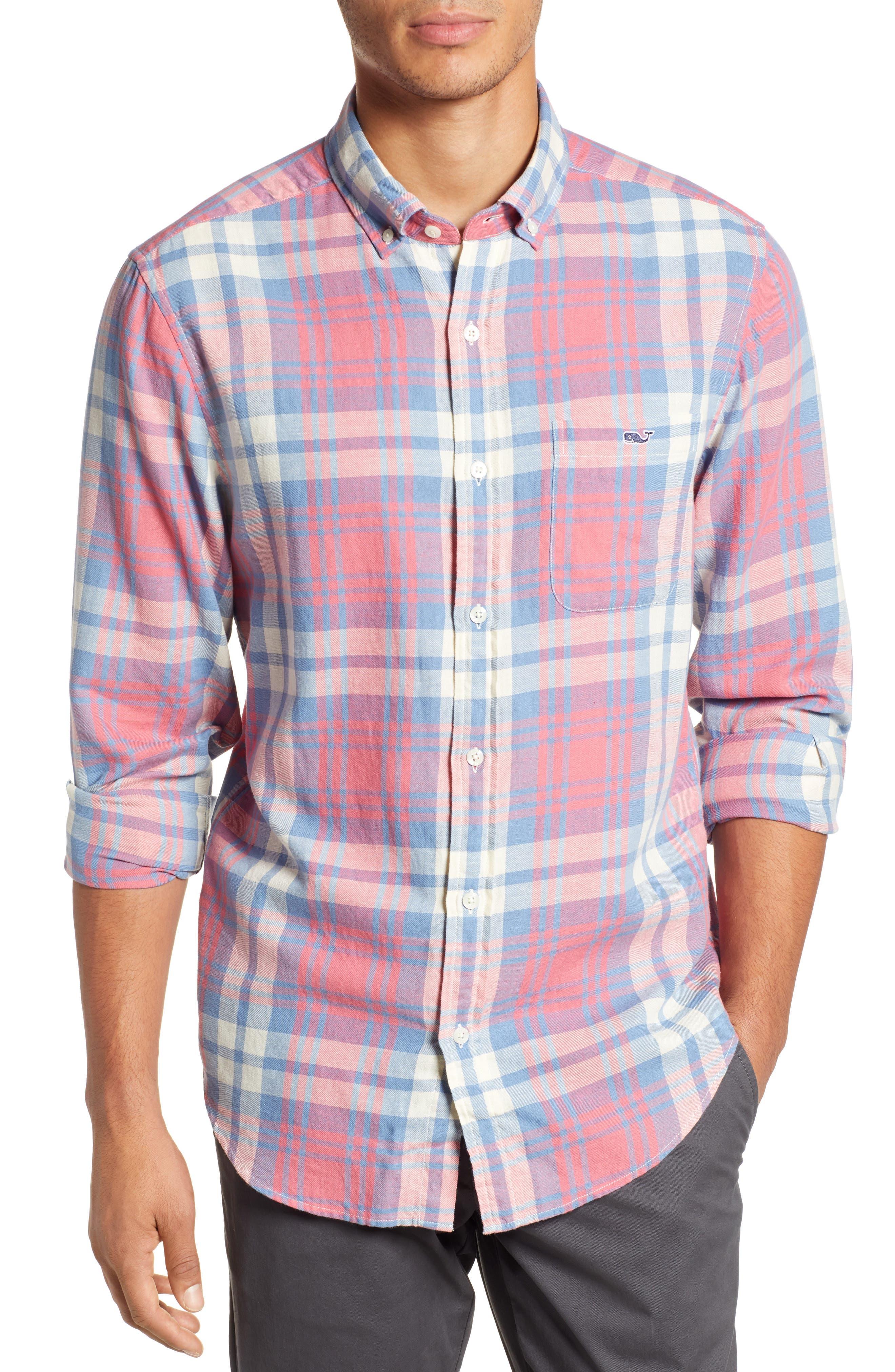 VINEYARD VINES, Kings Point Slim Fit Tucker Sport Shirt, Main thumbnail 1, color, LOBSTER REEF