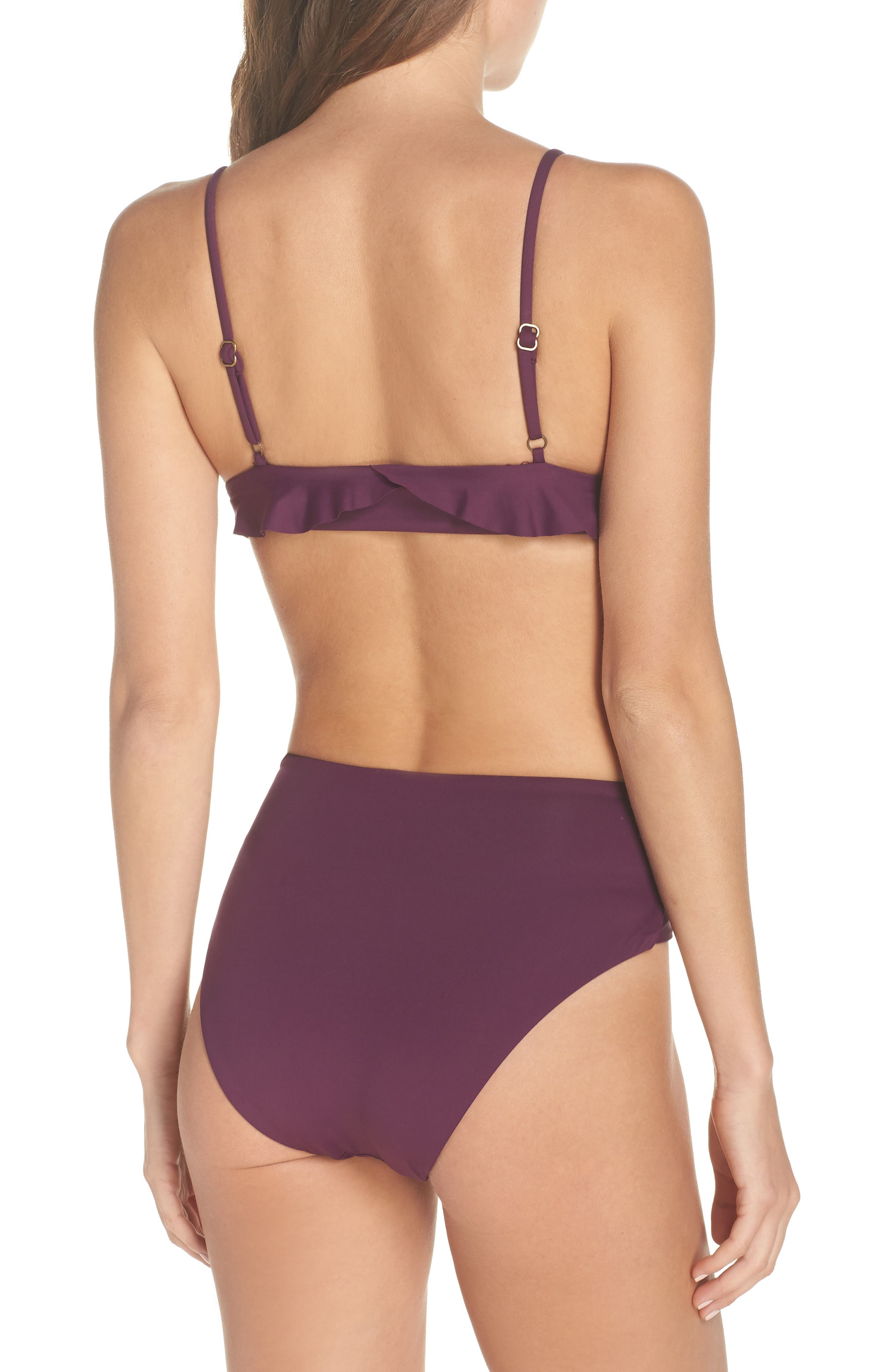 BECCA, Color Code Crossover High Waist Bikini Bottoms, Alternate thumbnail 9, color, MERLOT