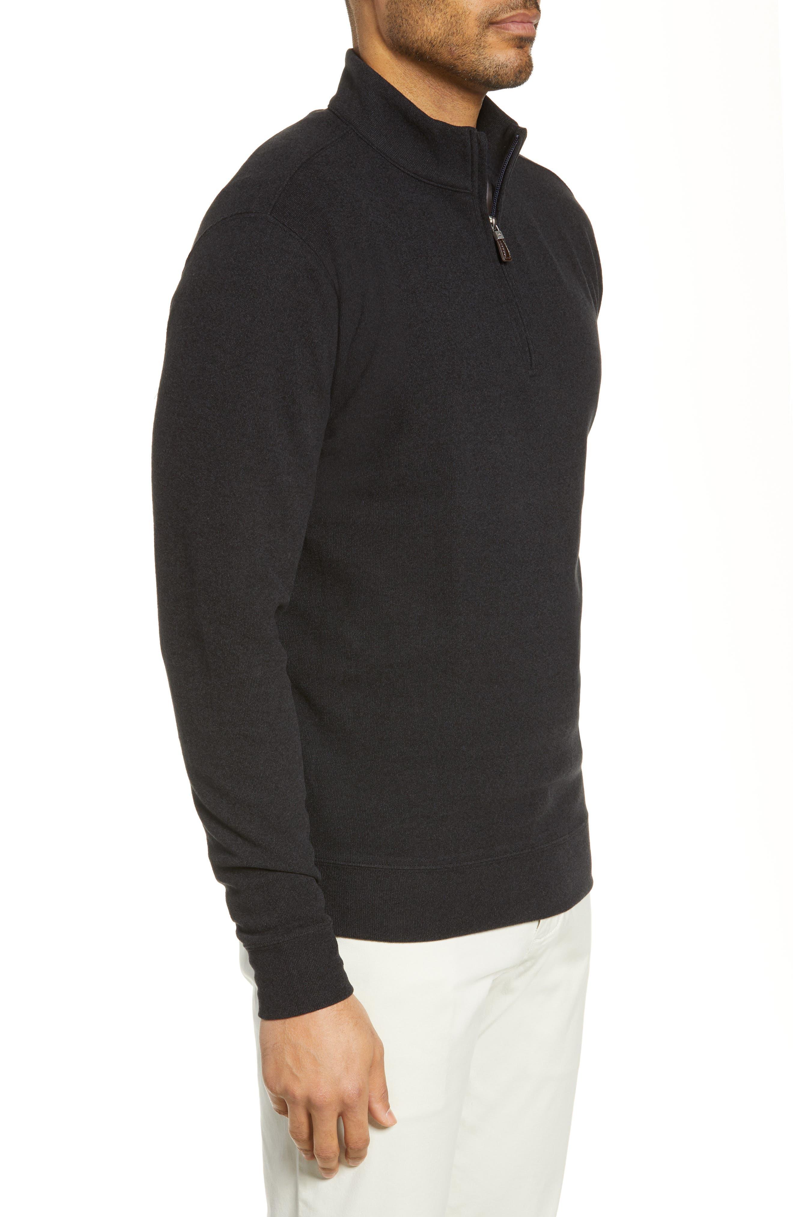 PETER MILLAR, Half Zip Pullover, Alternate thumbnail 3, color, BLACK