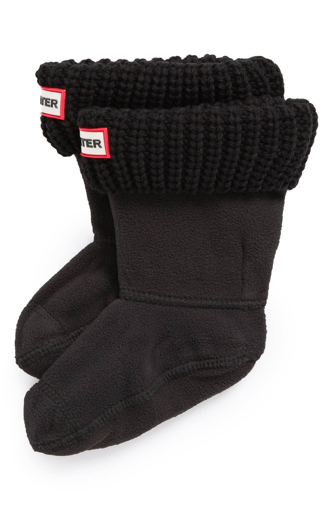 Girls Hunter Cardigan Knit Cuff Welly Boot Socks Size 46  Black