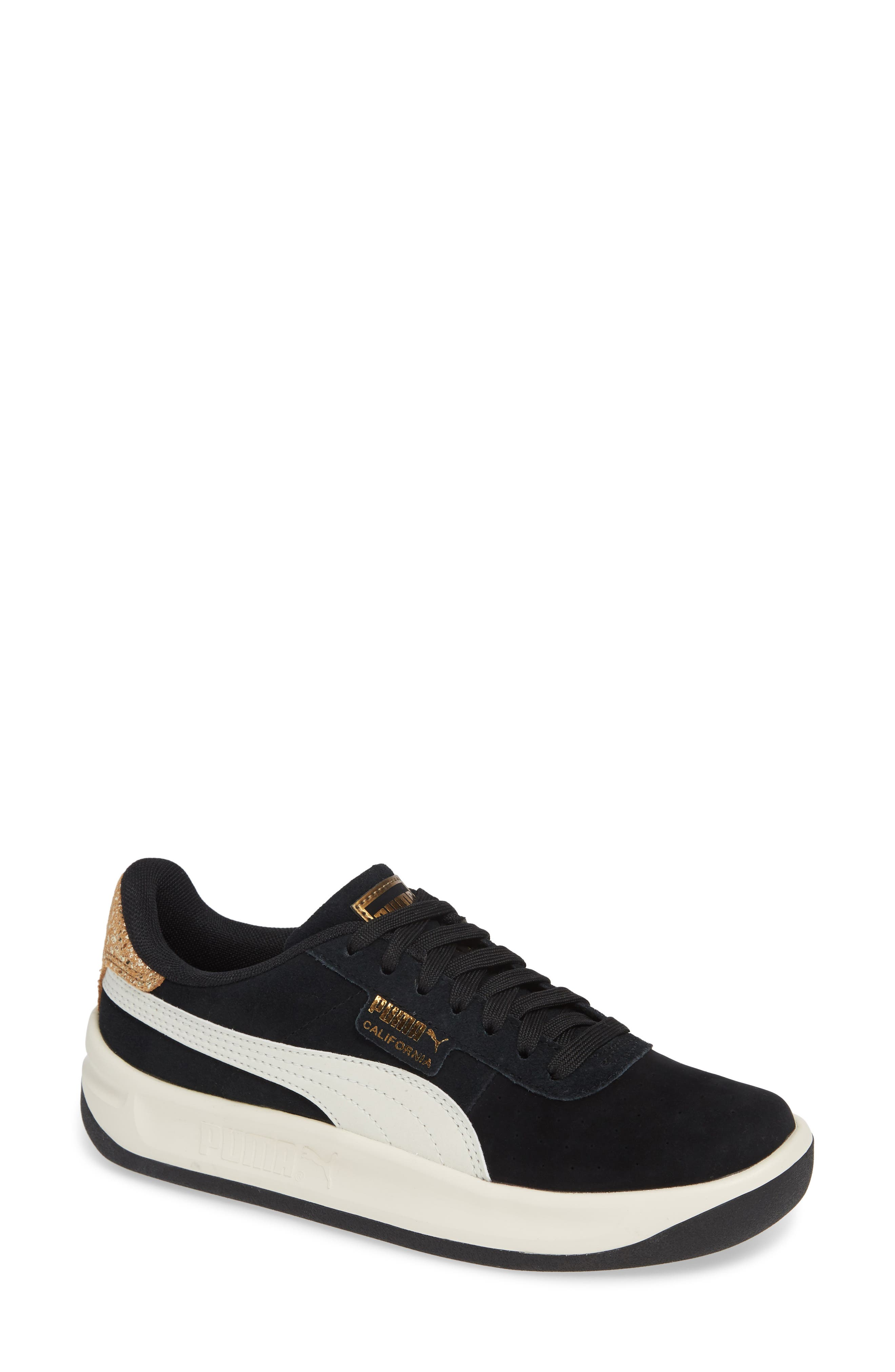 PUMA, California Metallic Sneaker, Main thumbnail 1, color, BLACK/ WHITE/ METALLIC BRONZE