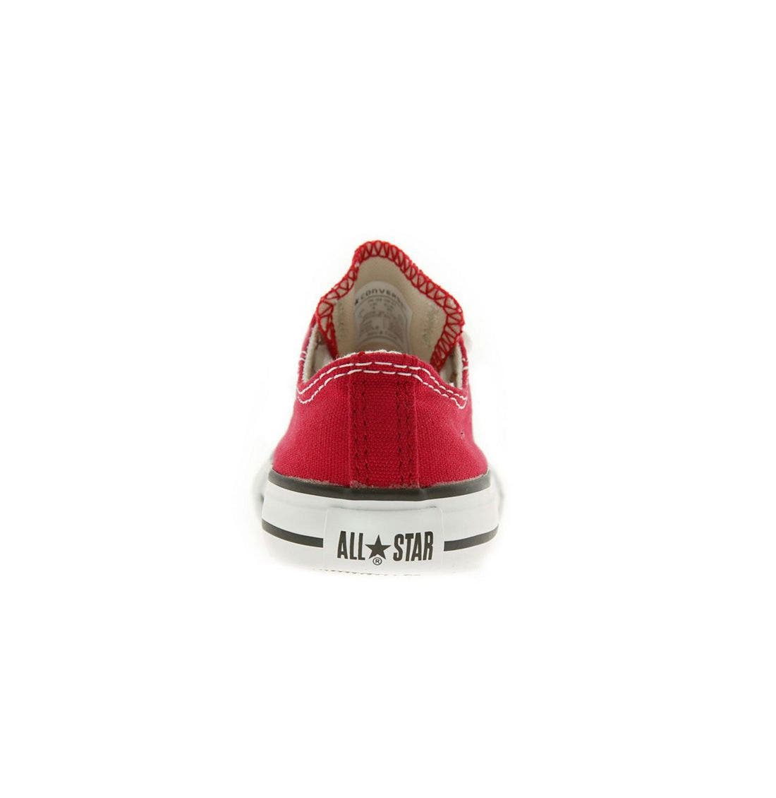CONVERSE, Chuck Taylor<sup>®</sup> Low Top Sneaker, Alternate thumbnail 4, color, RED