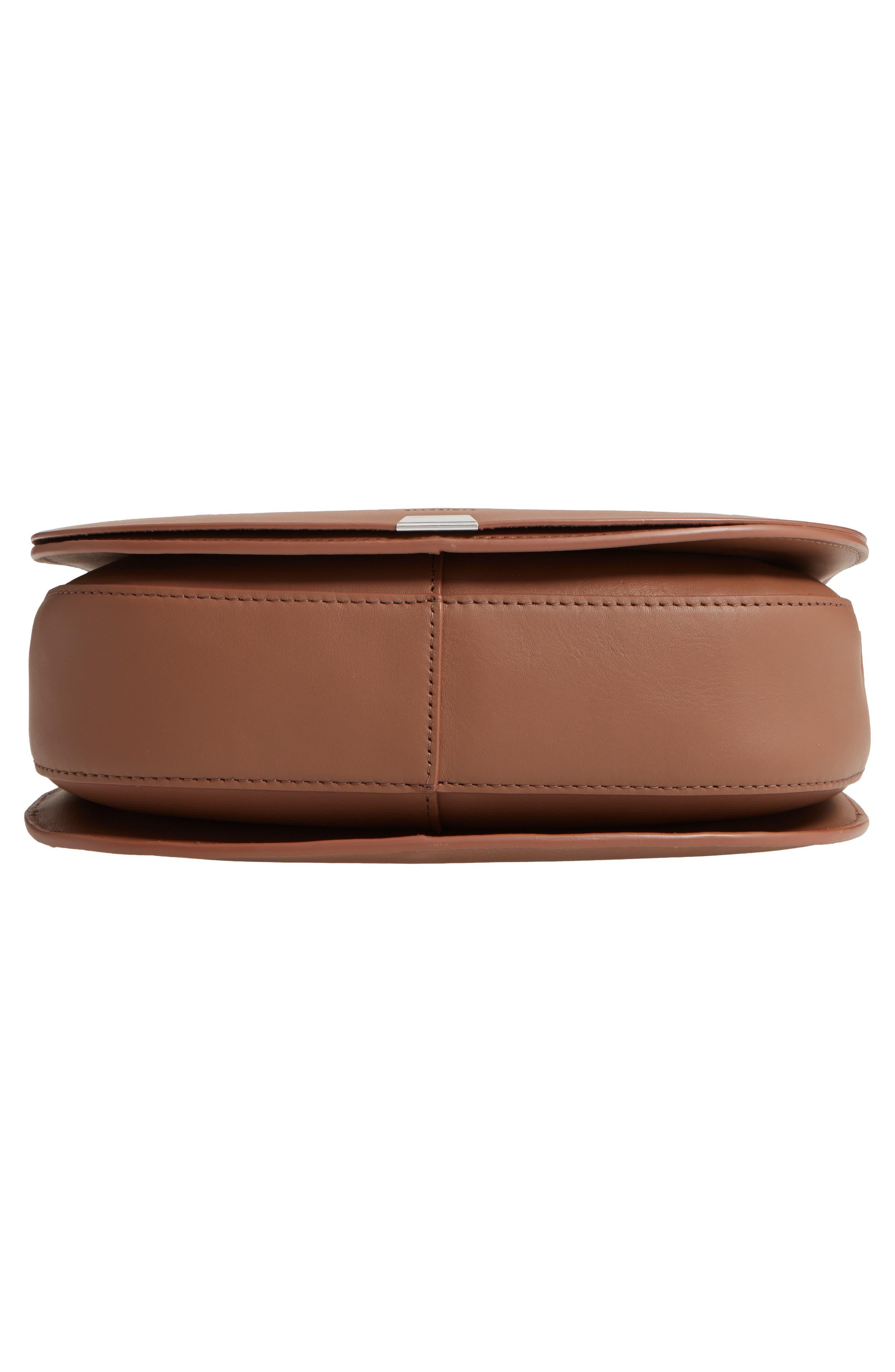 ALLSAINTS, Captain Round Leather Crossbody Bag, Alternate thumbnail 6, color, MILK CHOCOLATE