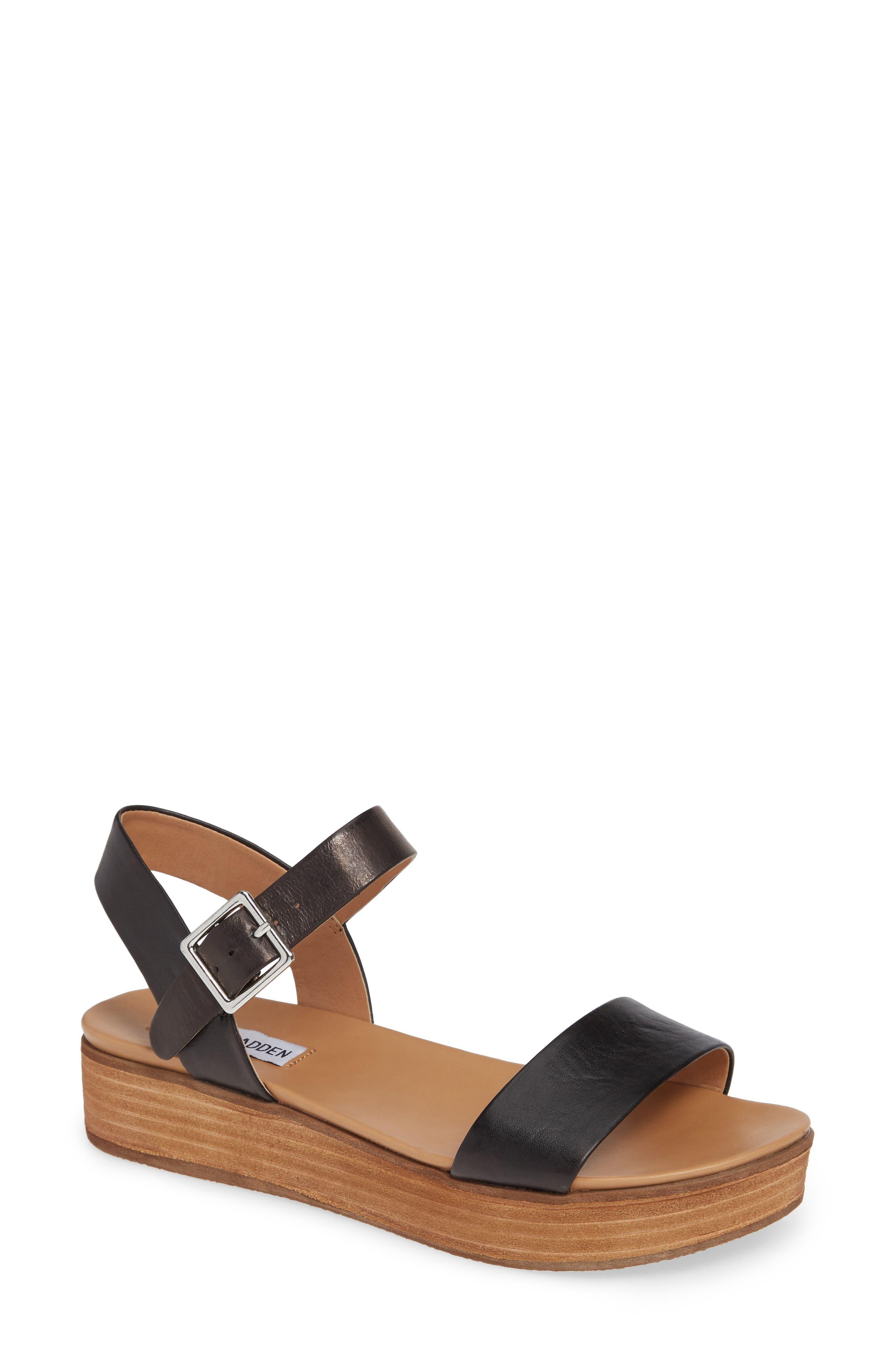 STEVE MADDEN, Aida Platform Sandal, Main thumbnail 1, color, BLACK LEATHER