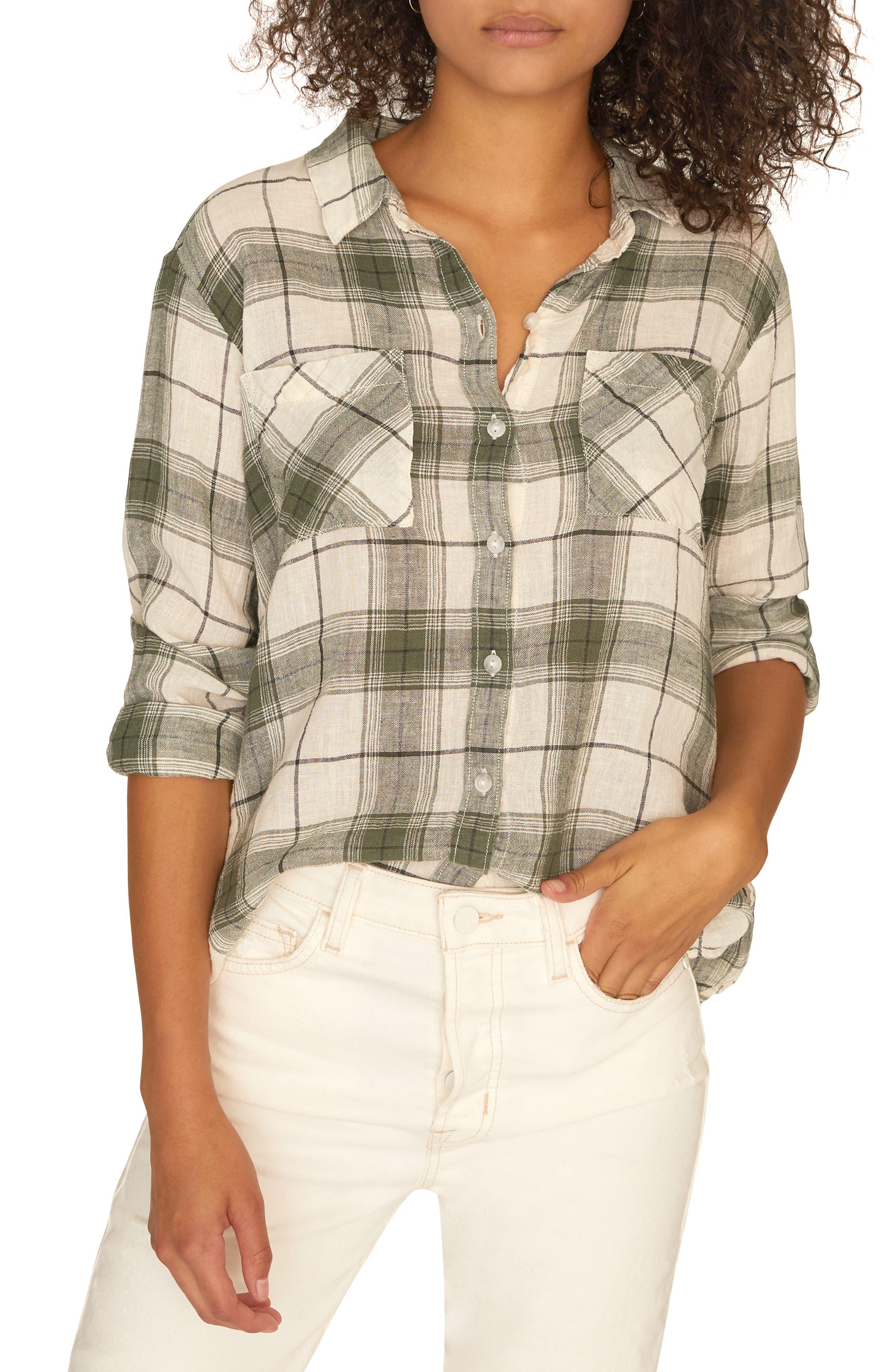 SANCTUARY Favorite Boyfriend Shirt, Main, color, NATURE PLAID