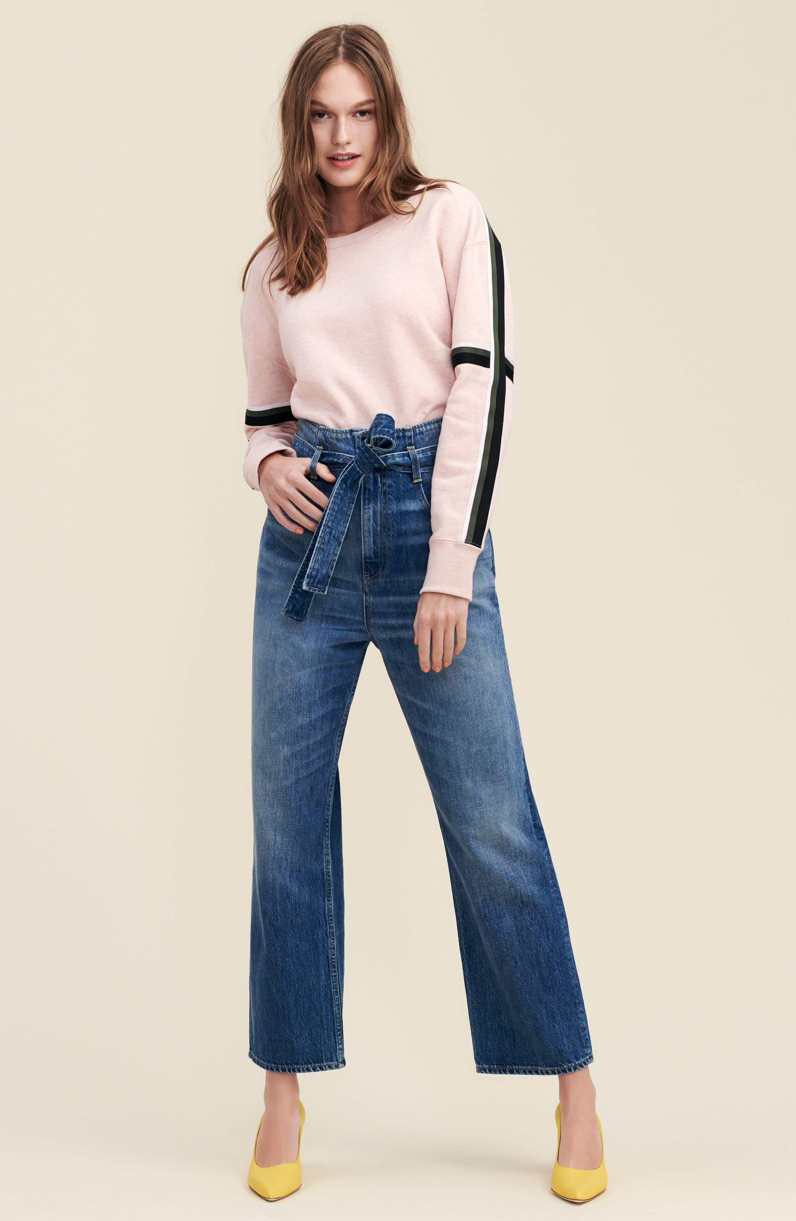 3X1 NYC, Kelly Paperbag Waist Ankle Wide Leg Jeans, Alternate thumbnail 7, color, MEG