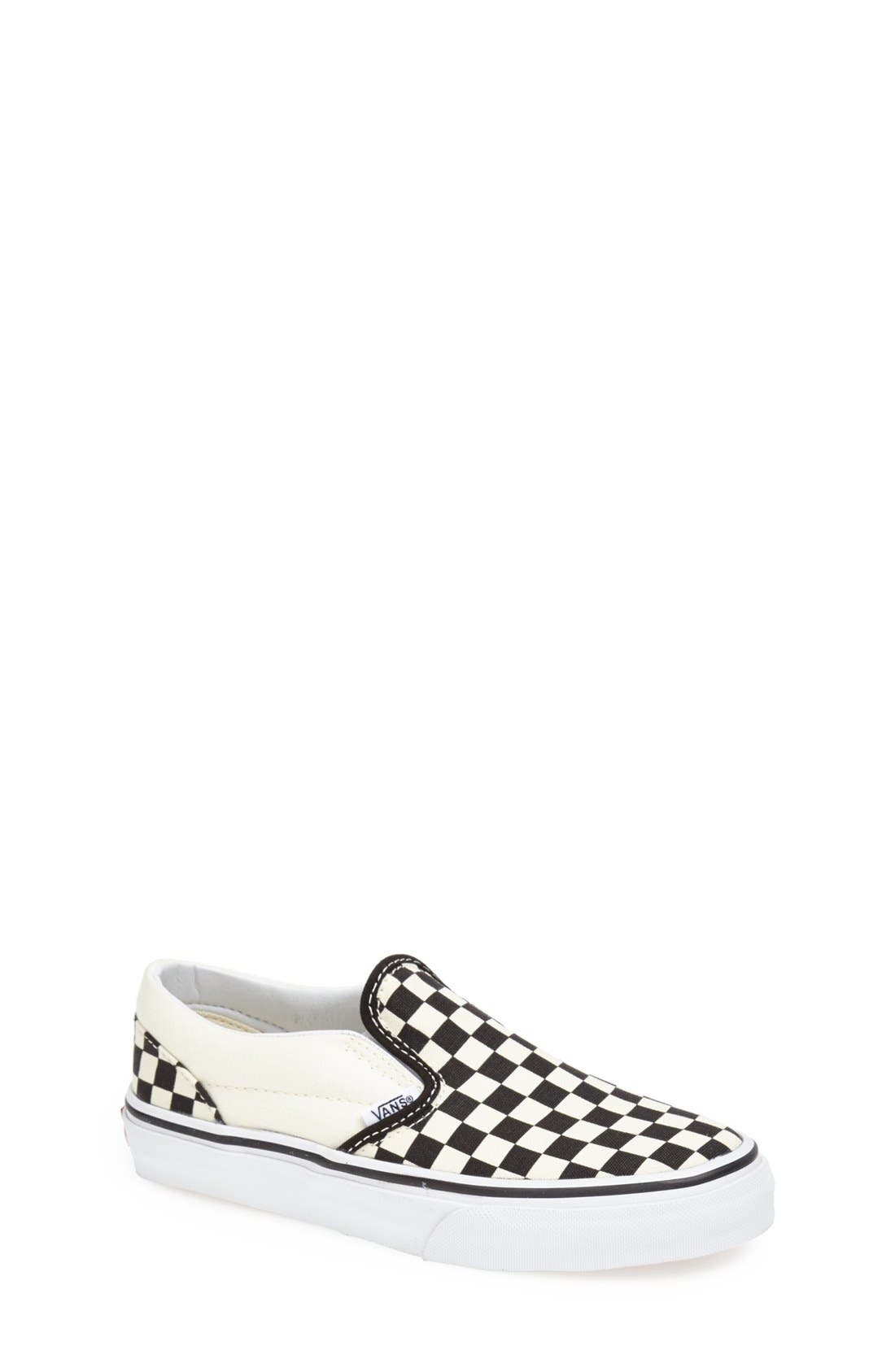 VANS 'Classic - Checkerboard' Slip-On, Main, color, BLACK/ WHITE CHECKERBOARD
