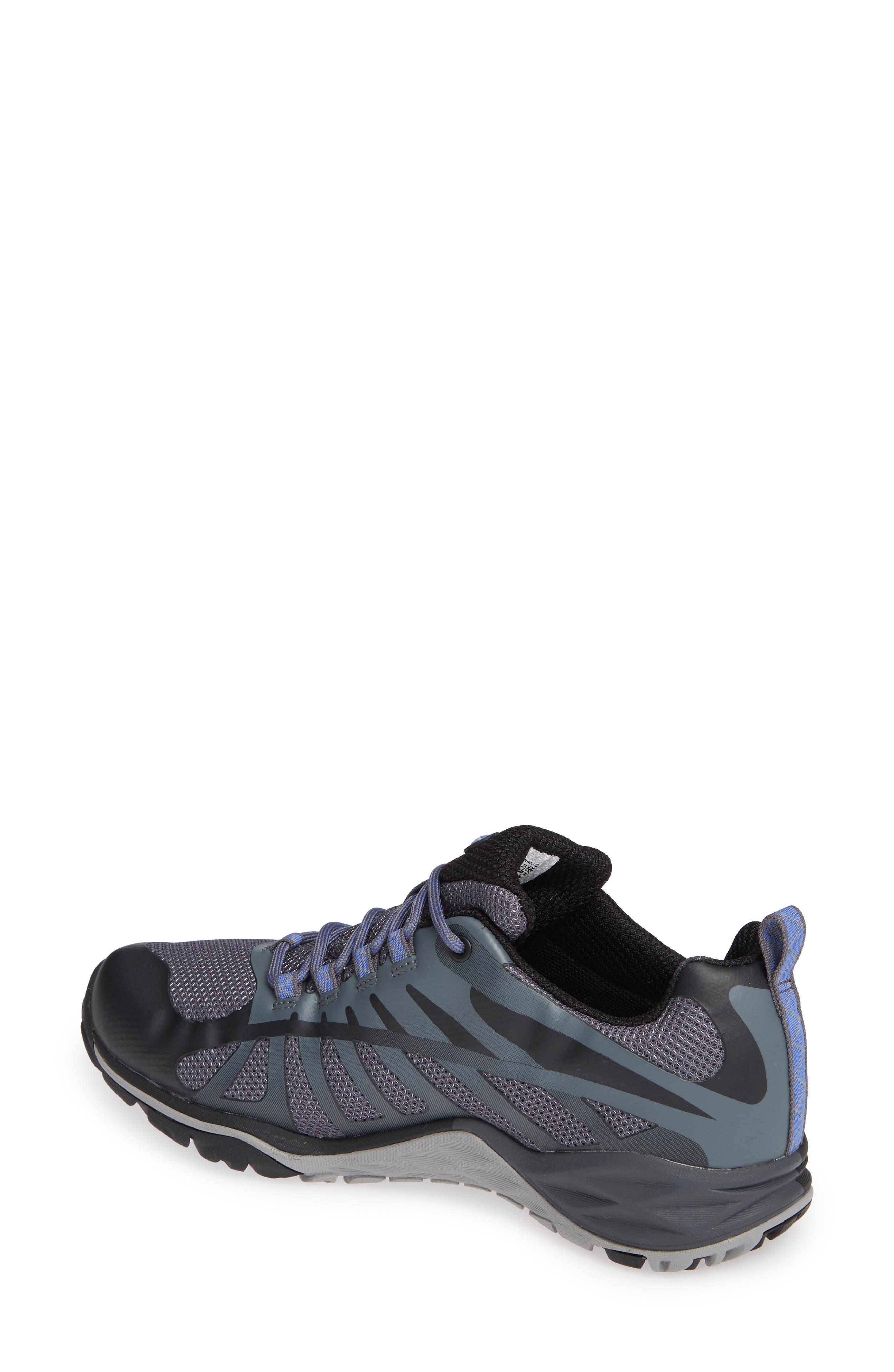 MERRELL, Siren Edge Waterproof Q2 Hiking Shoe, Alternate thumbnail 2, color, BLACK FABRIC