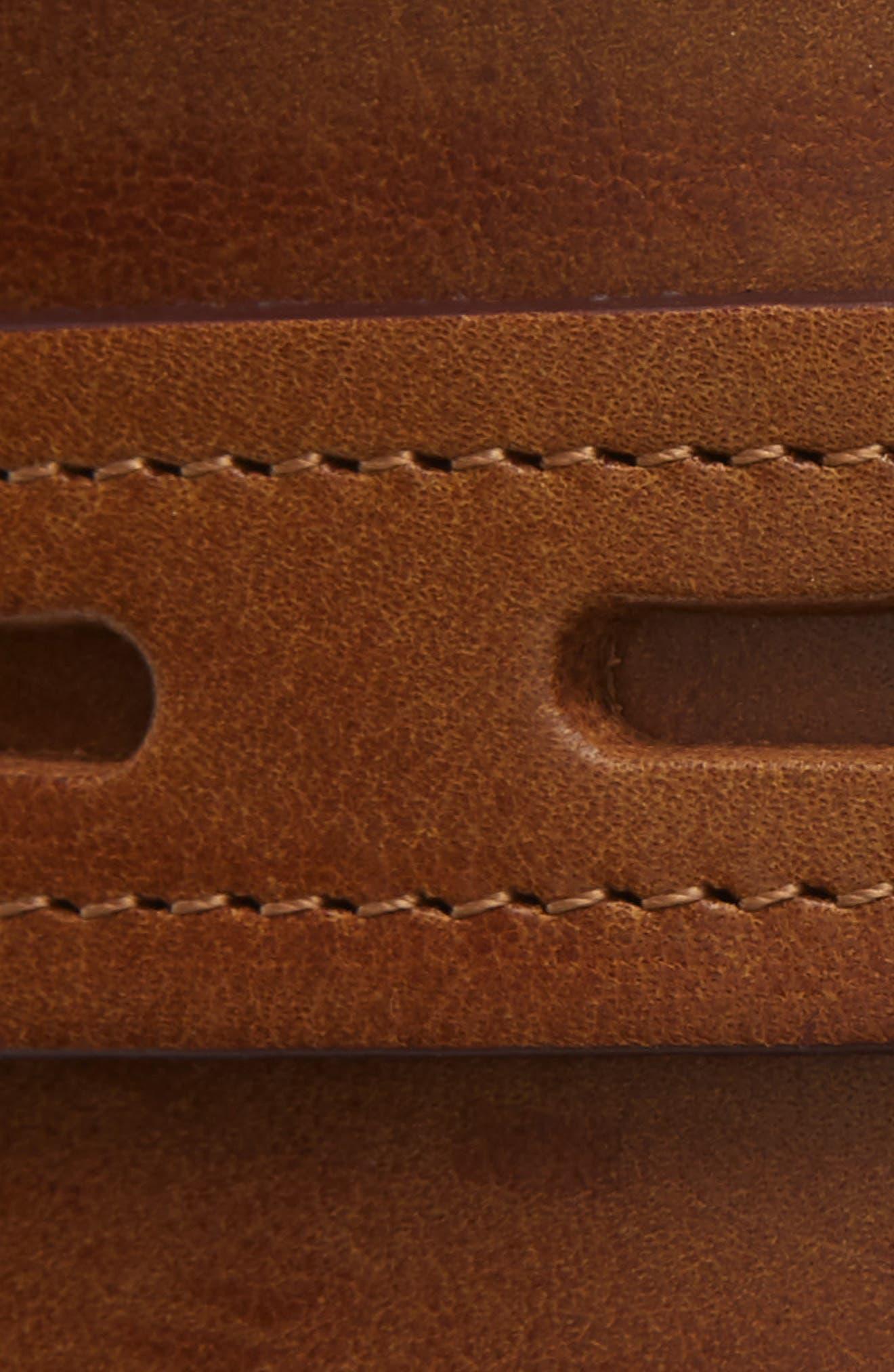 RAG & BONE, Field Leather Belt, Alternate thumbnail 3, color, BROWN
