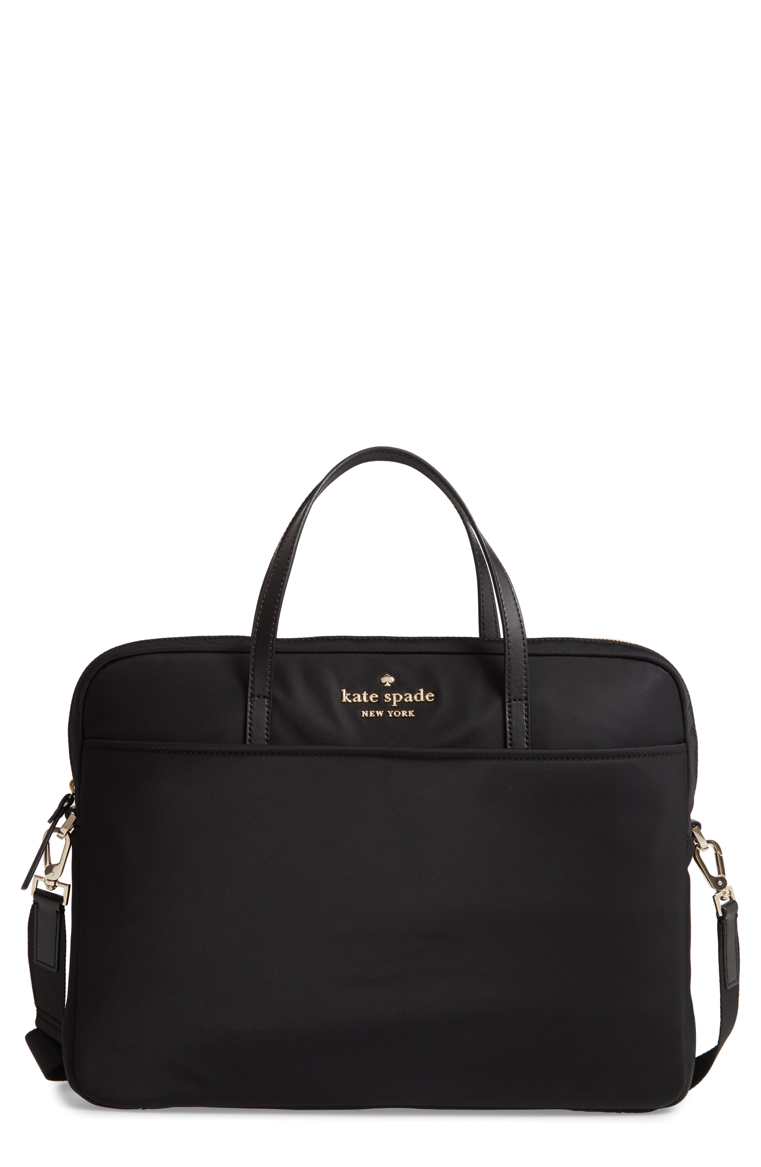 KATE SPADE NEW YORK uni slim laptop commuter bag, Main, color, BLACK