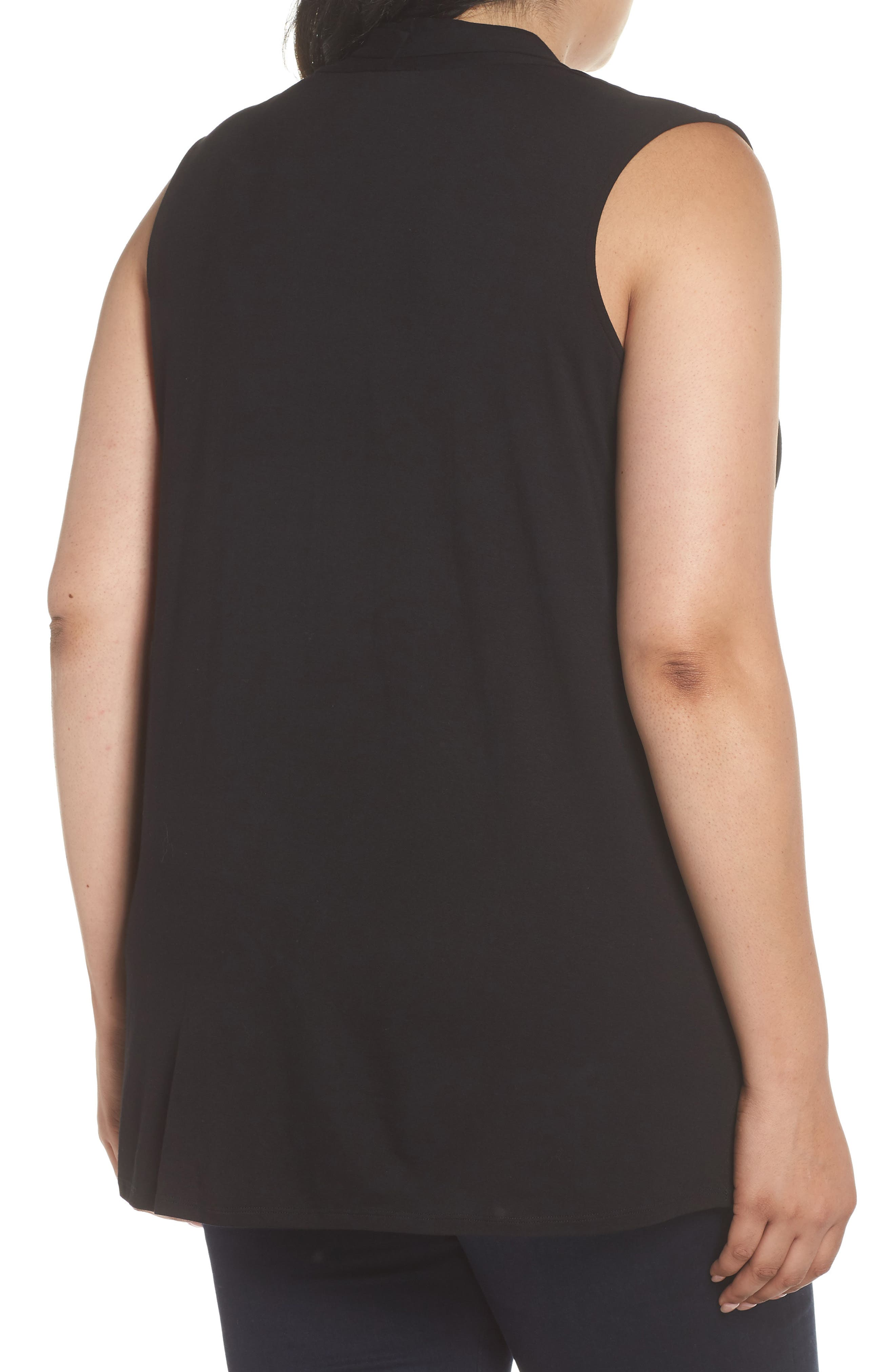 VINCE CAMUTO, Sleeveless V-Neck Knit Blouse, Alternate thumbnail 2, color, RICH BLACK