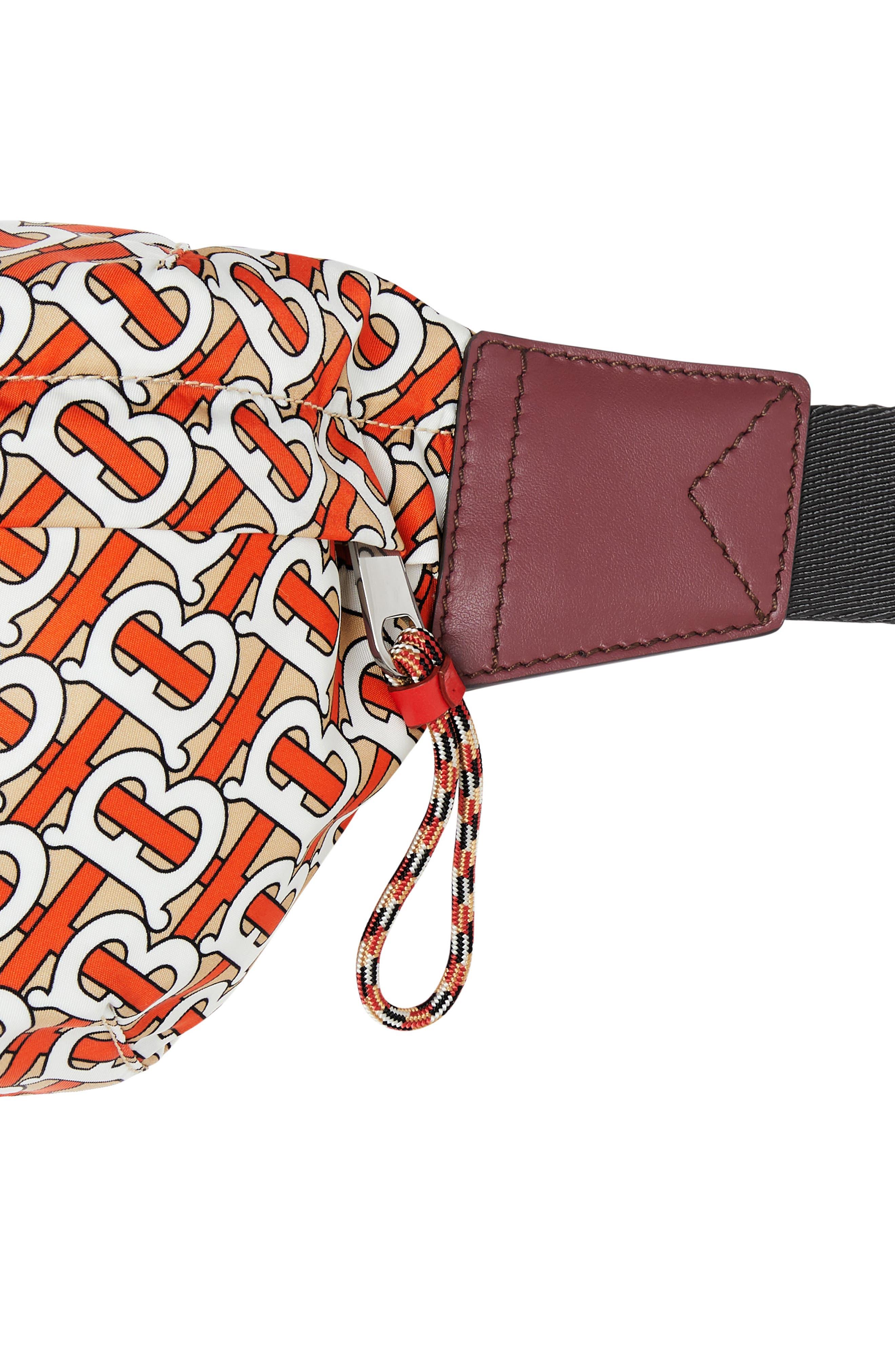 BURBERRY, Sonny Monogram Nylon Belt Bag, Alternate thumbnail 5, color, VERMILLION