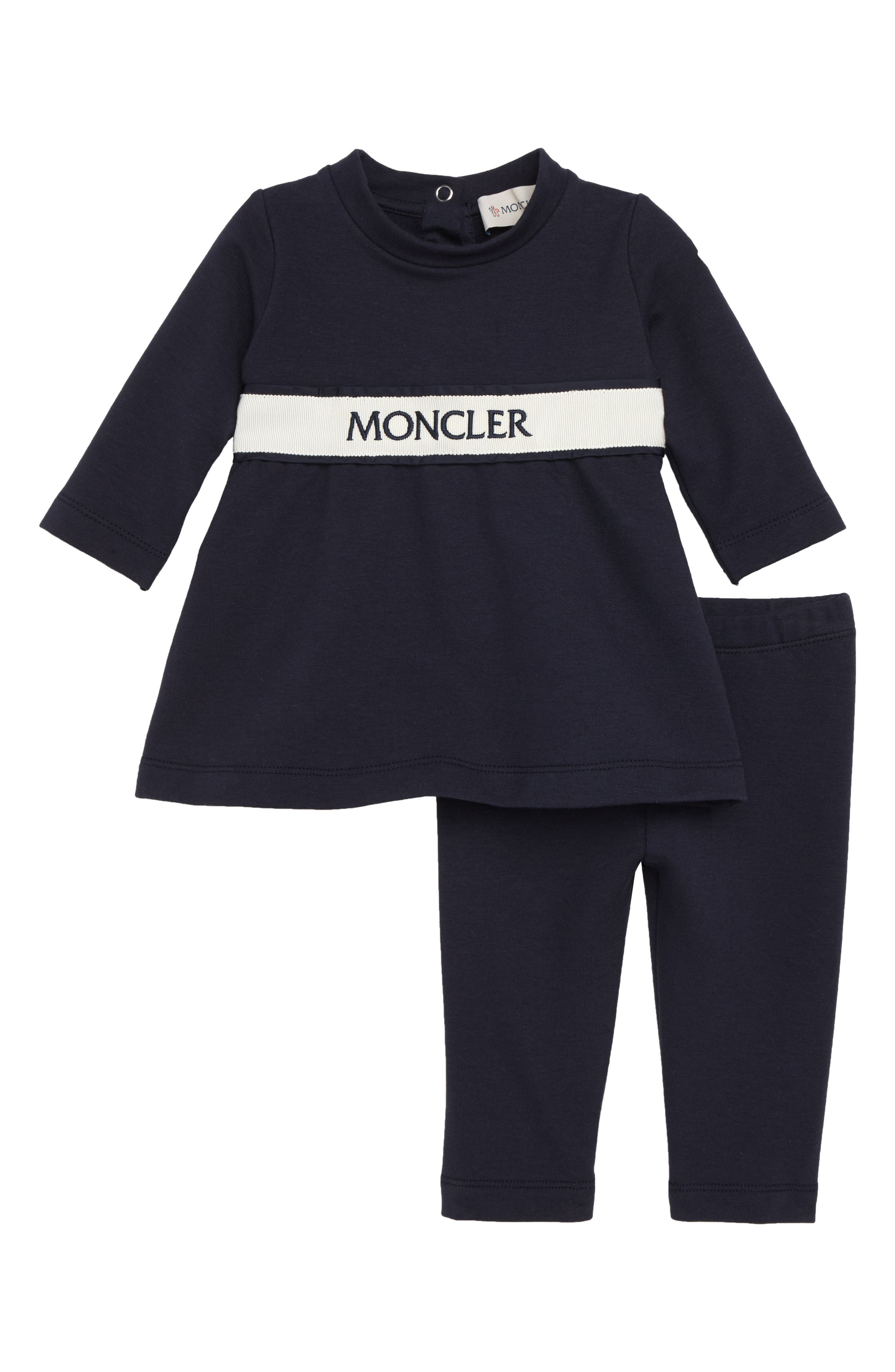 MONCLER, Dress & Leggings Set, Main thumbnail 1, color, NAVY