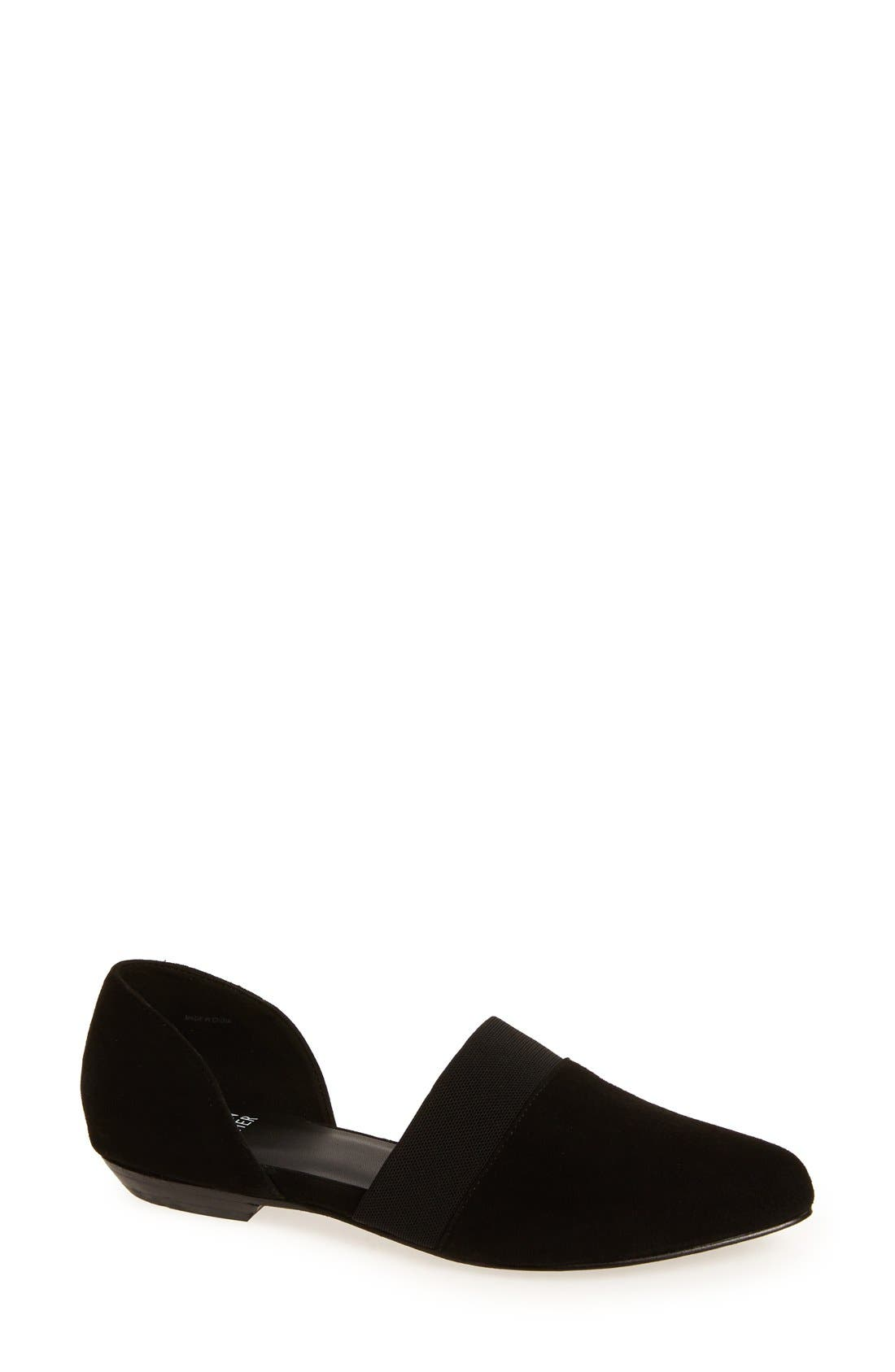 EILEEN FISHER, Flute Pointy Toe Flat, Main thumbnail 1, color, BLACK SUEDE