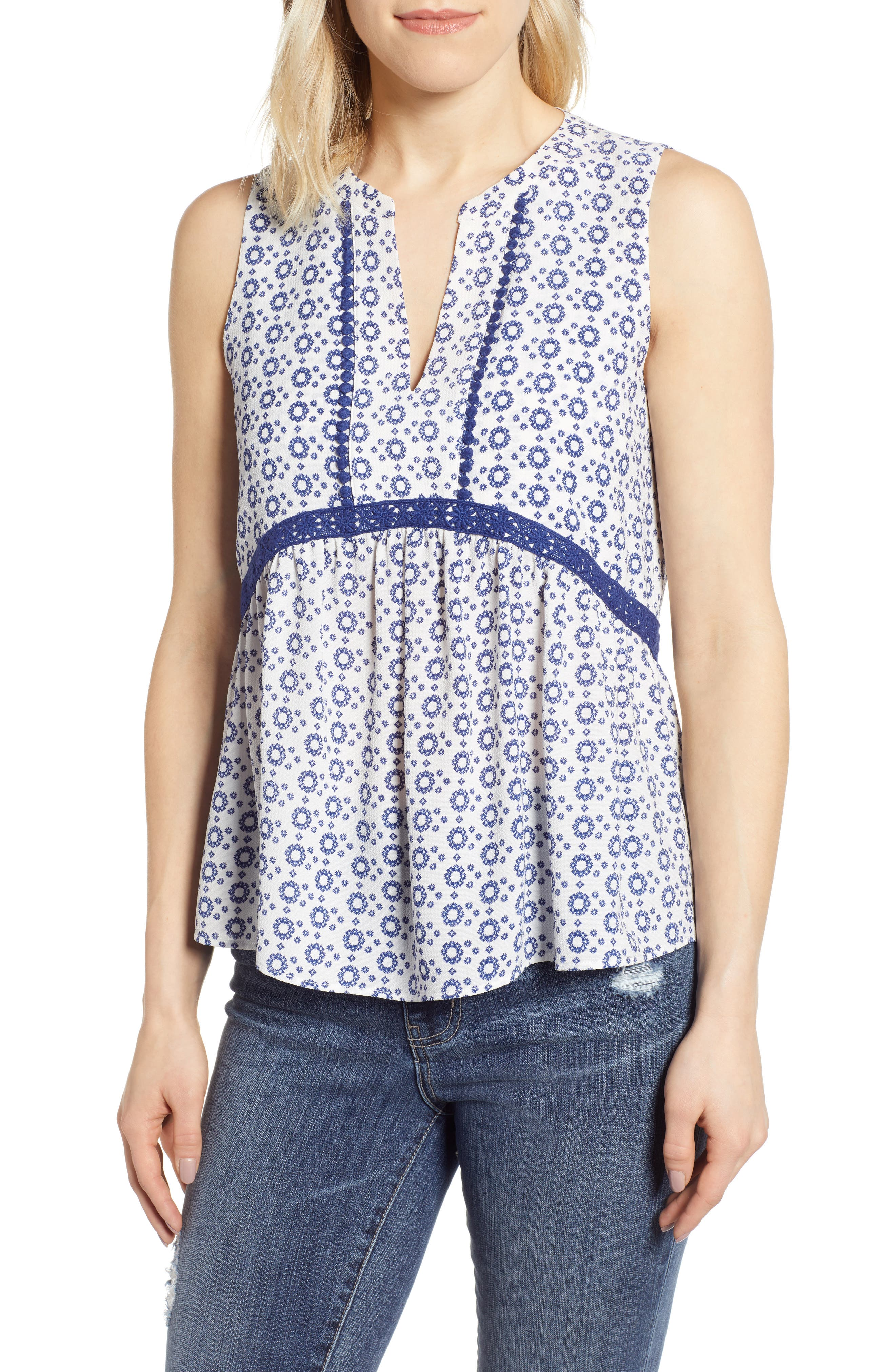 GIBSON, x International Women's Day Lindsey Crochet Detail Babydoll Blouse, Main thumbnail 1, color, WHITE/ NAVY GEO