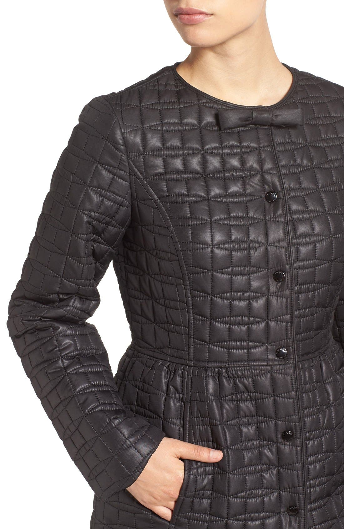 KATE SPADE NEW YORK, quilted down coat, Alternate thumbnail 4, color, 001