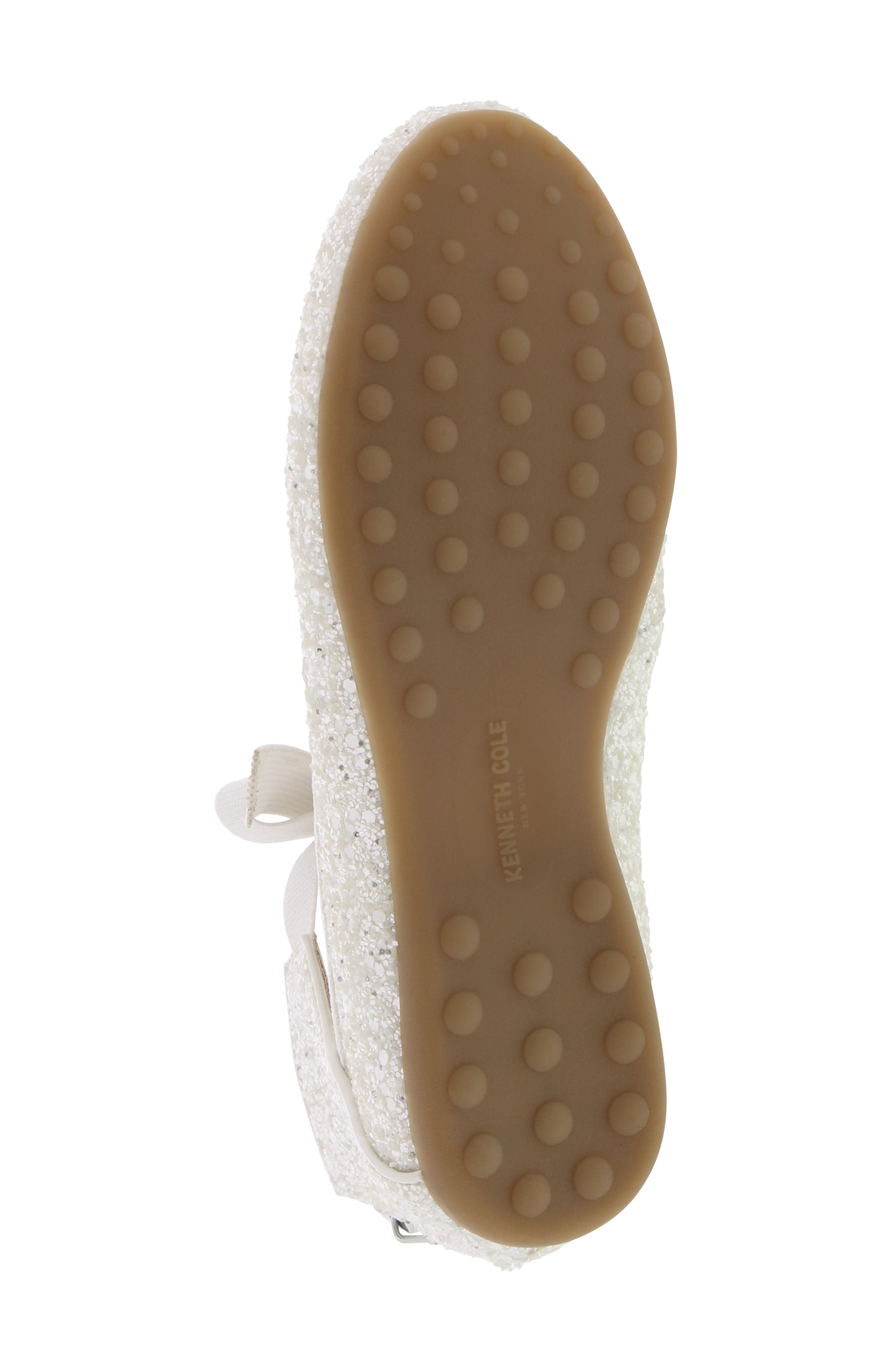 KENNETH COLE NEW YORK, Rose Bow Ballet Flat, Alternate thumbnail 6, color, WHITE SUGAR GLITTER
