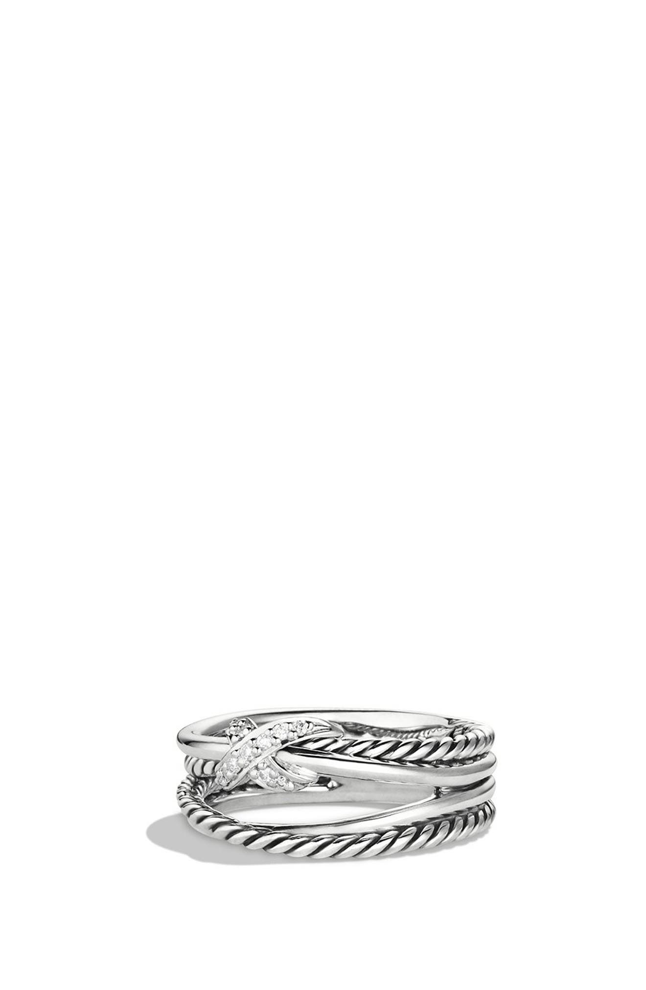 DAVID YURMAN, 'X Crossover' Ring with Diamonds, Alternate thumbnail 5, color, DIAMOND