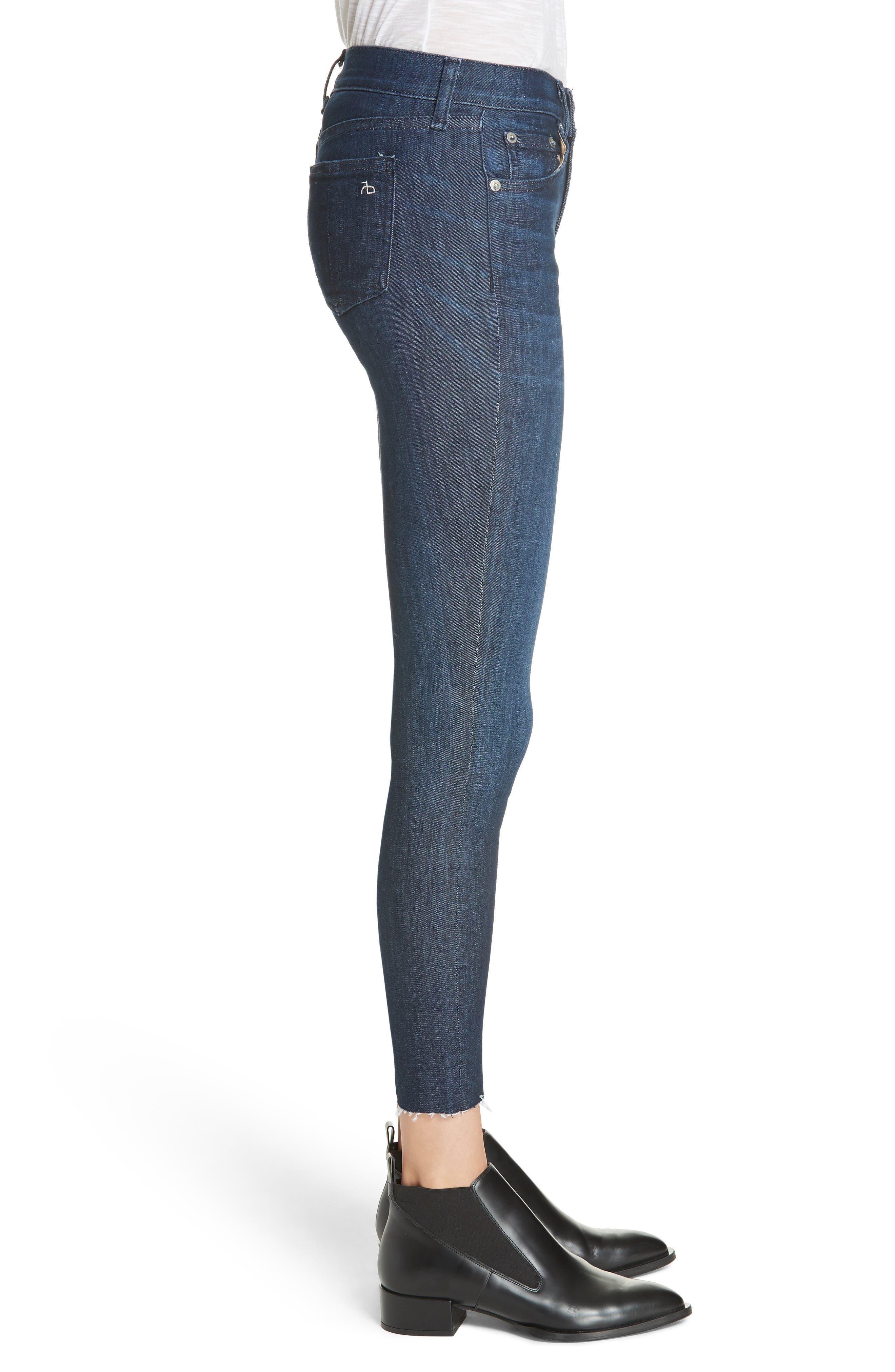 RAG & BONE, Raw Hem Ankle Skinny Jeans, Alternate thumbnail 4, color, TONAL RIVER