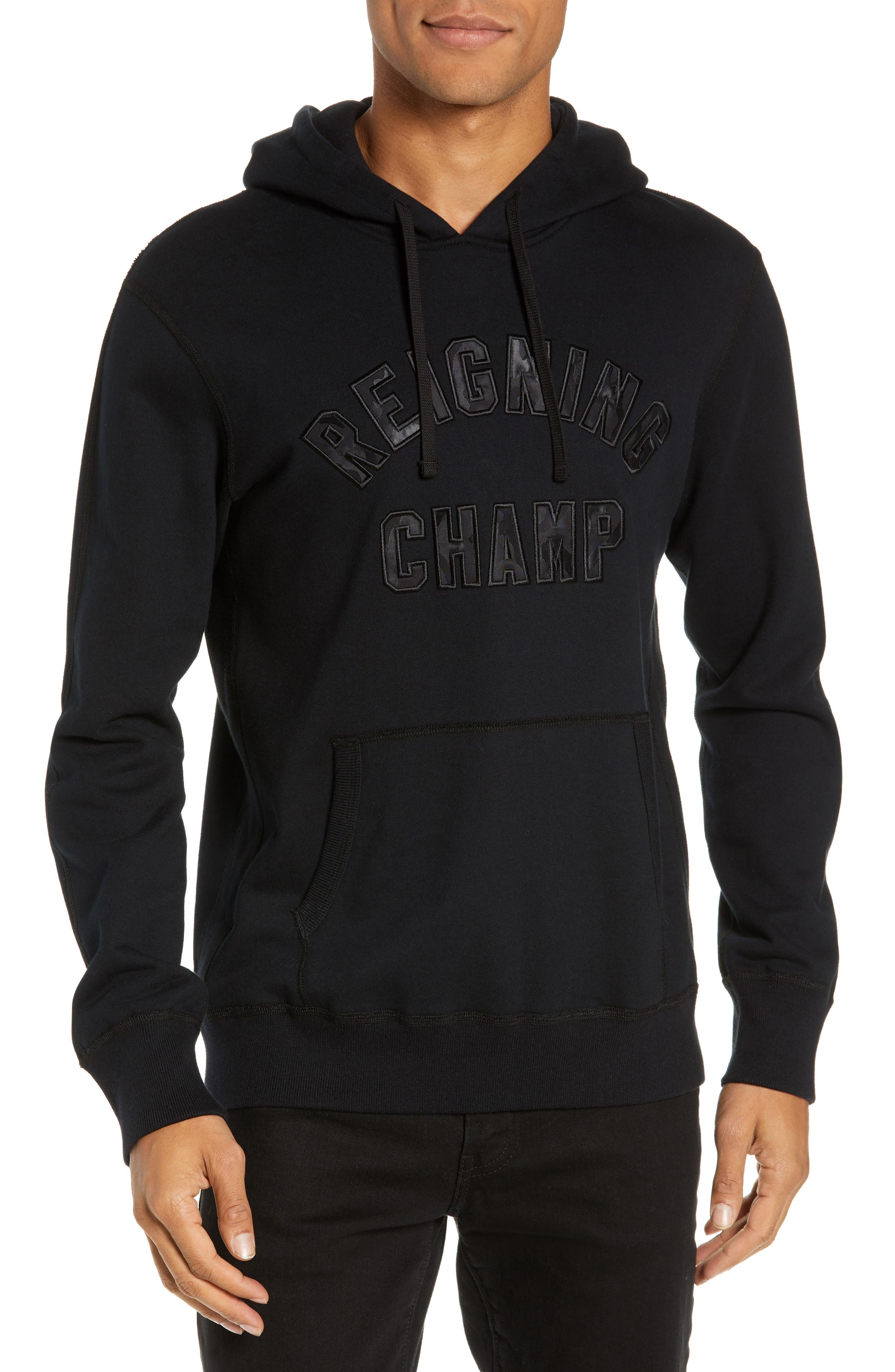 REIGNING CHAMP Club Logo Hooded Sweatshirt, Main, color, BLACK