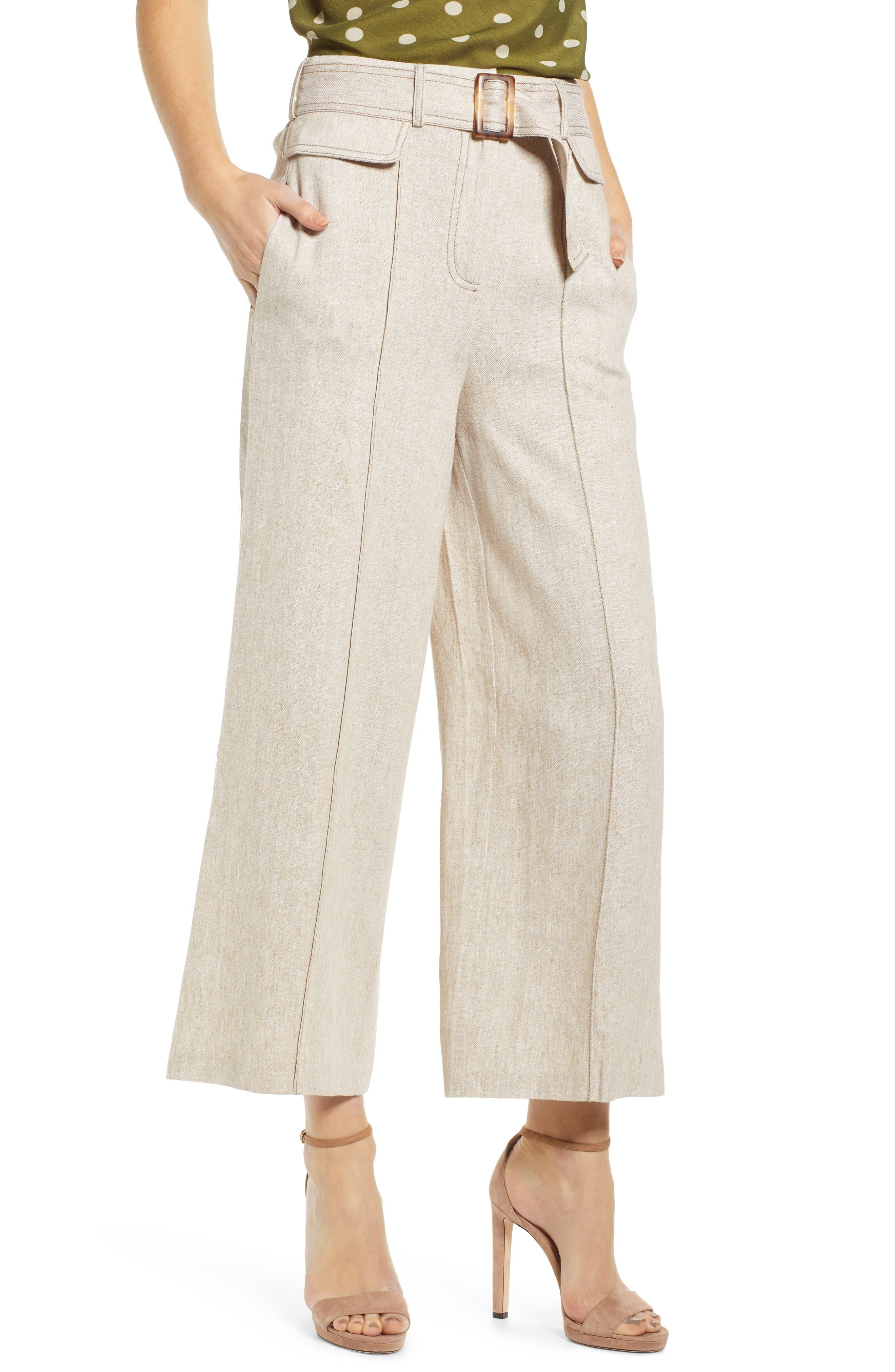 CHRISELLE LIM COLLECTION, Chriselle Lim Toulouse Wide Leg Crop Trousers, Main thumbnail 1, color, OATMEAL