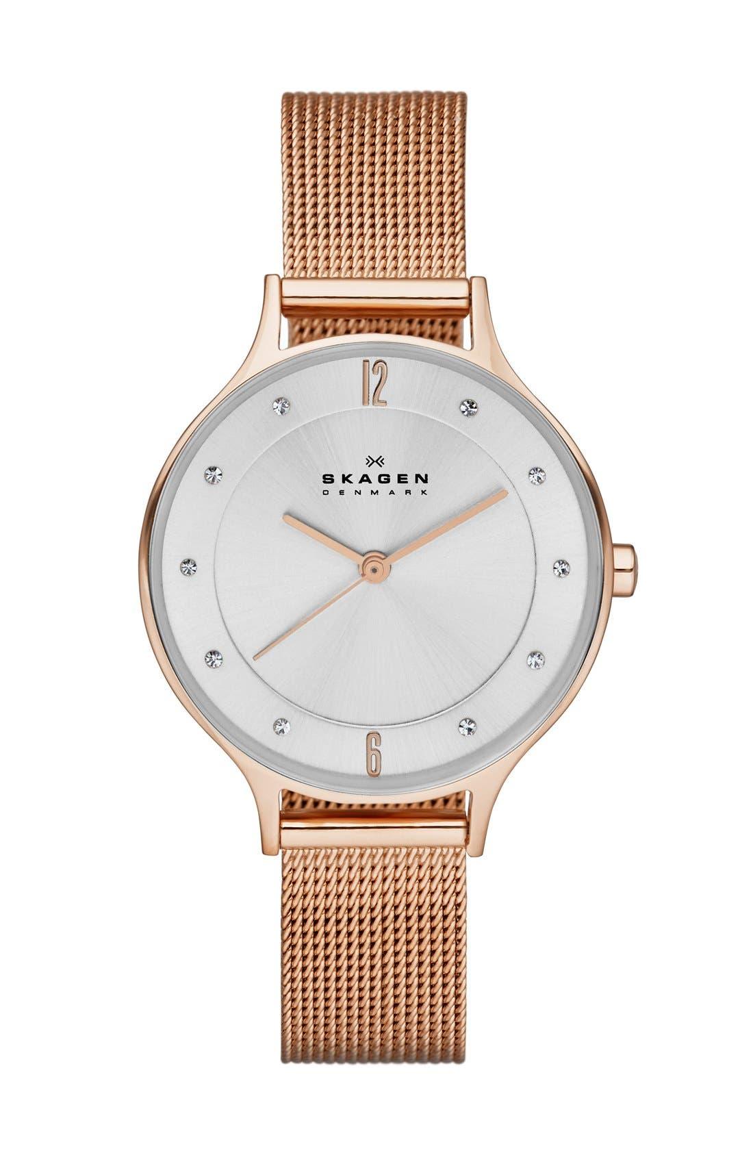 SKAGEN, 'Anita' Crystal Index Mesh Strap Watch, 30mm, Main thumbnail 1, color, ROSE GOLD