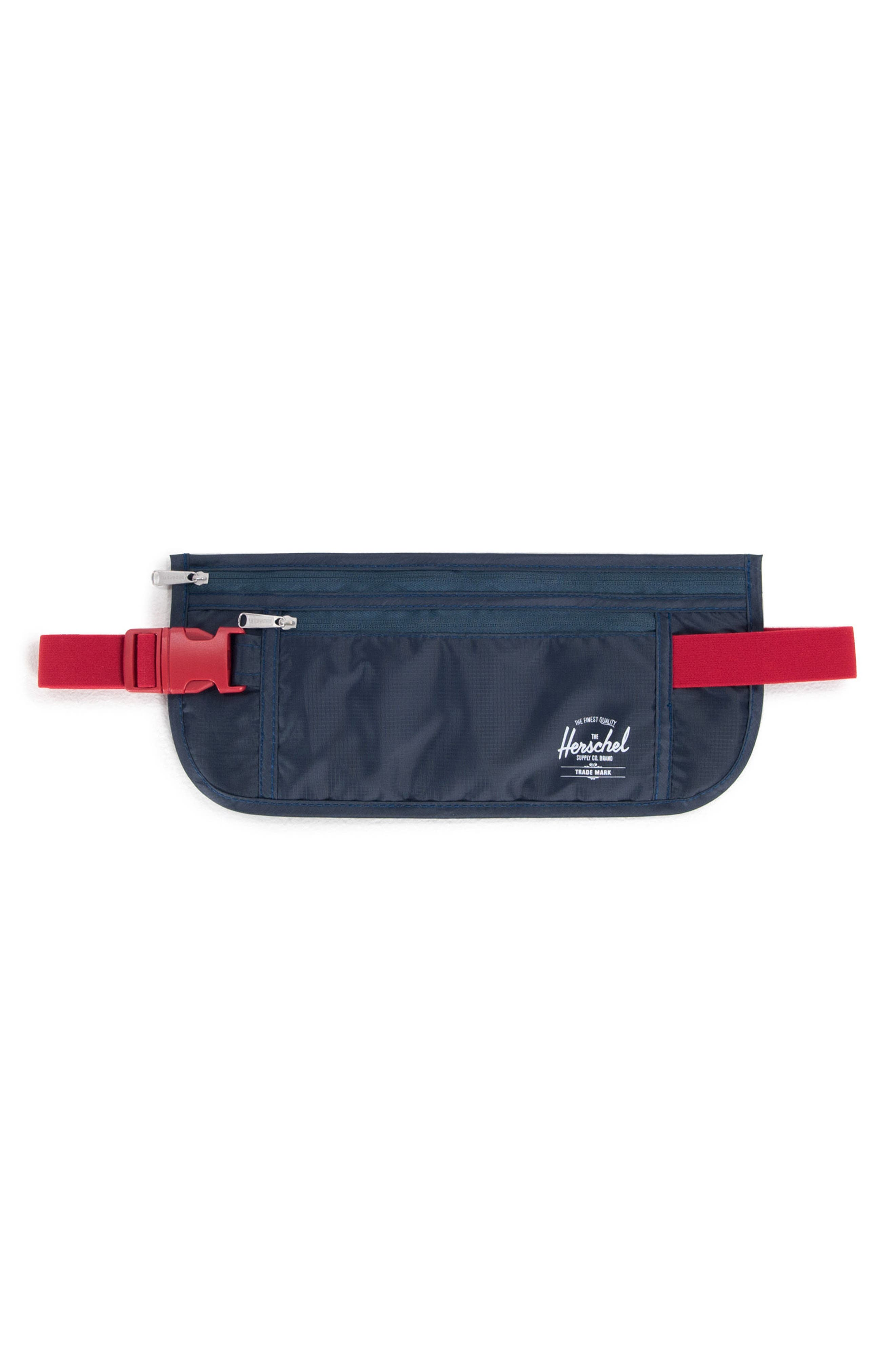 HERSCHEL SUPPLY CO. Money Belt, Main, color, NAVY/ RED