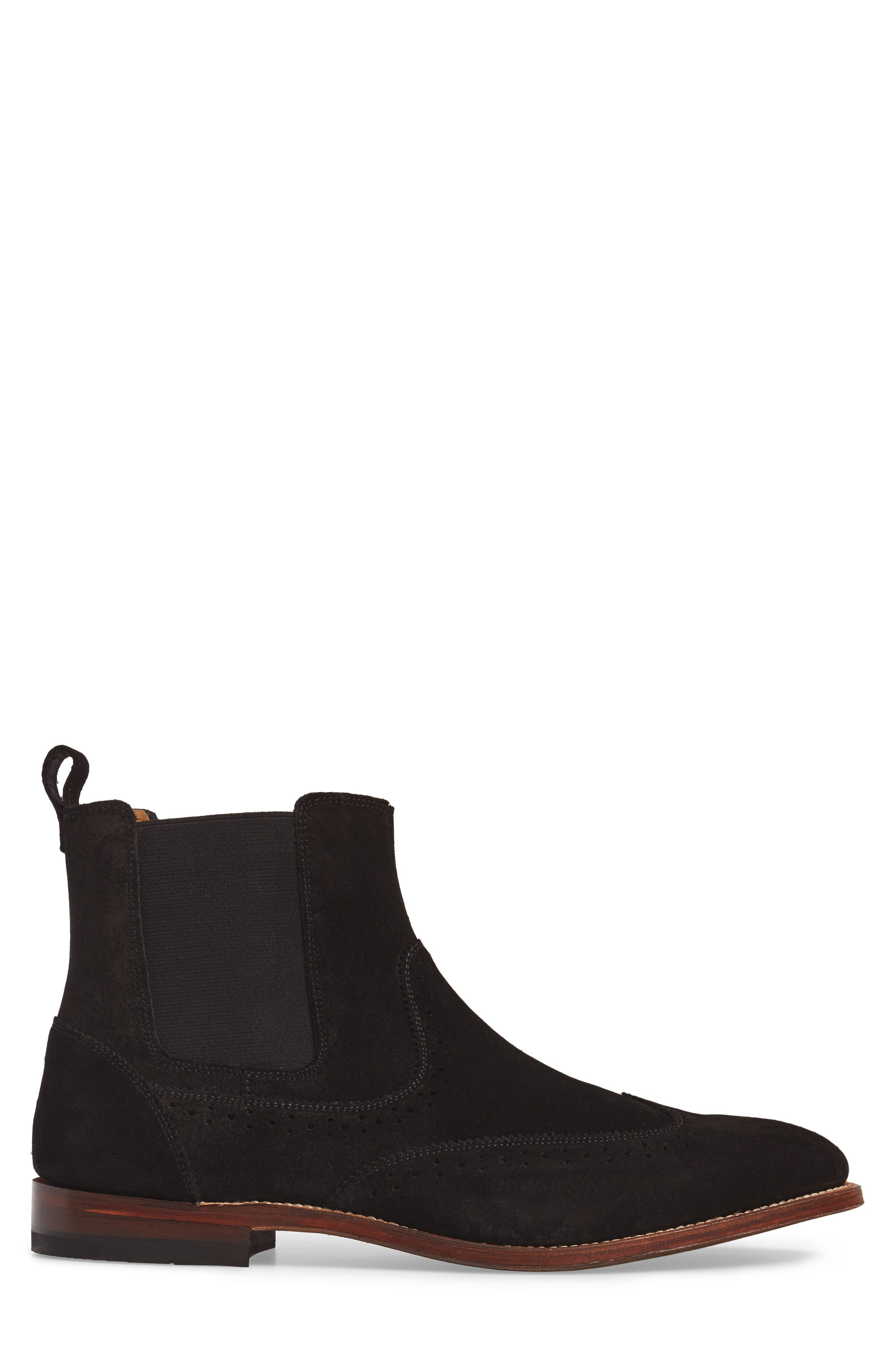 STACY ADAMS, Madison II Wingtip Chelsea Boot, Alternate thumbnail 3, color, BLACK SUEDE