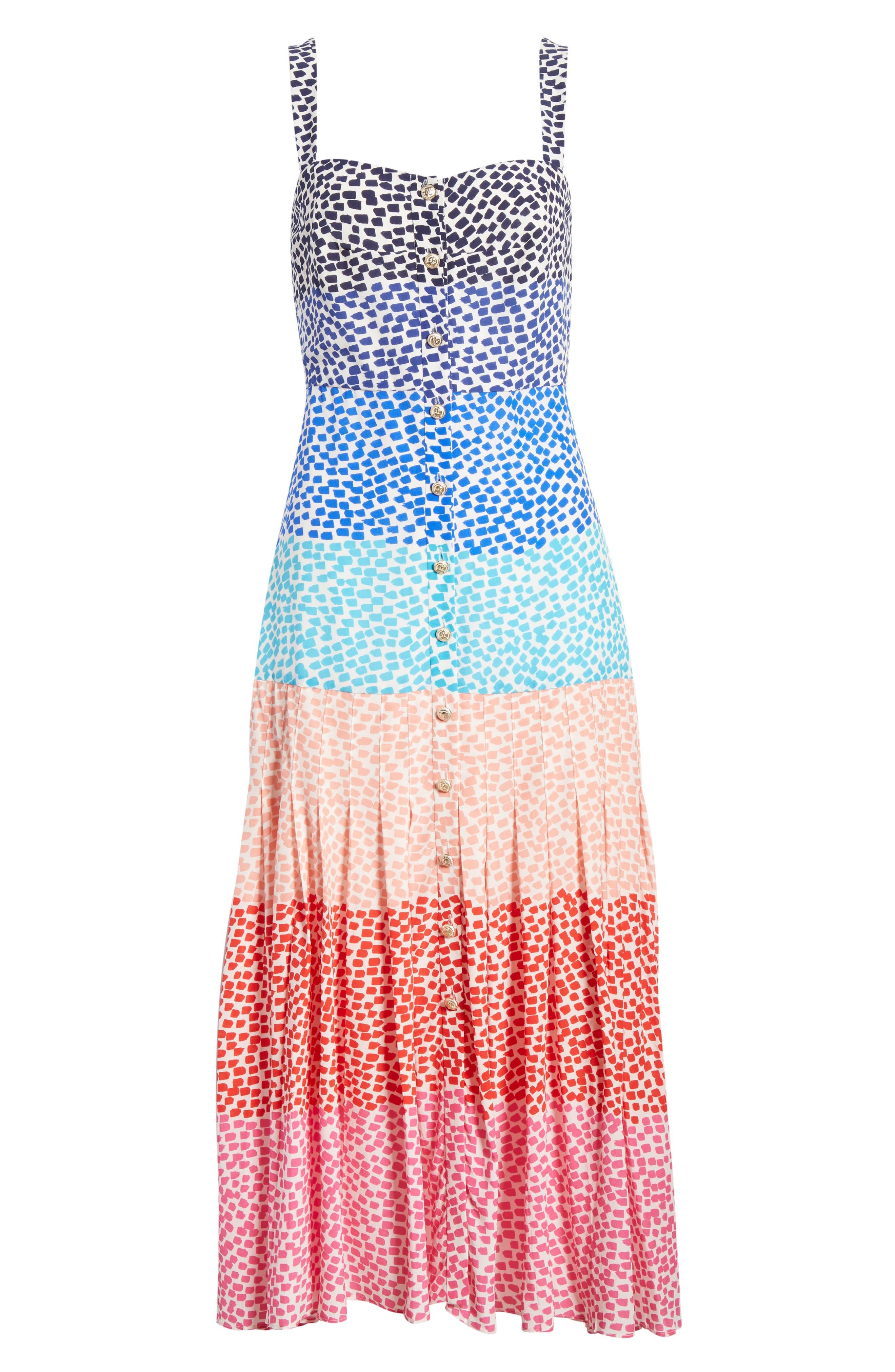 SALONI, Karen Stripe Silk Dress, Alternate thumbnail 6, color, RAINBOW GRADIENT PLMT