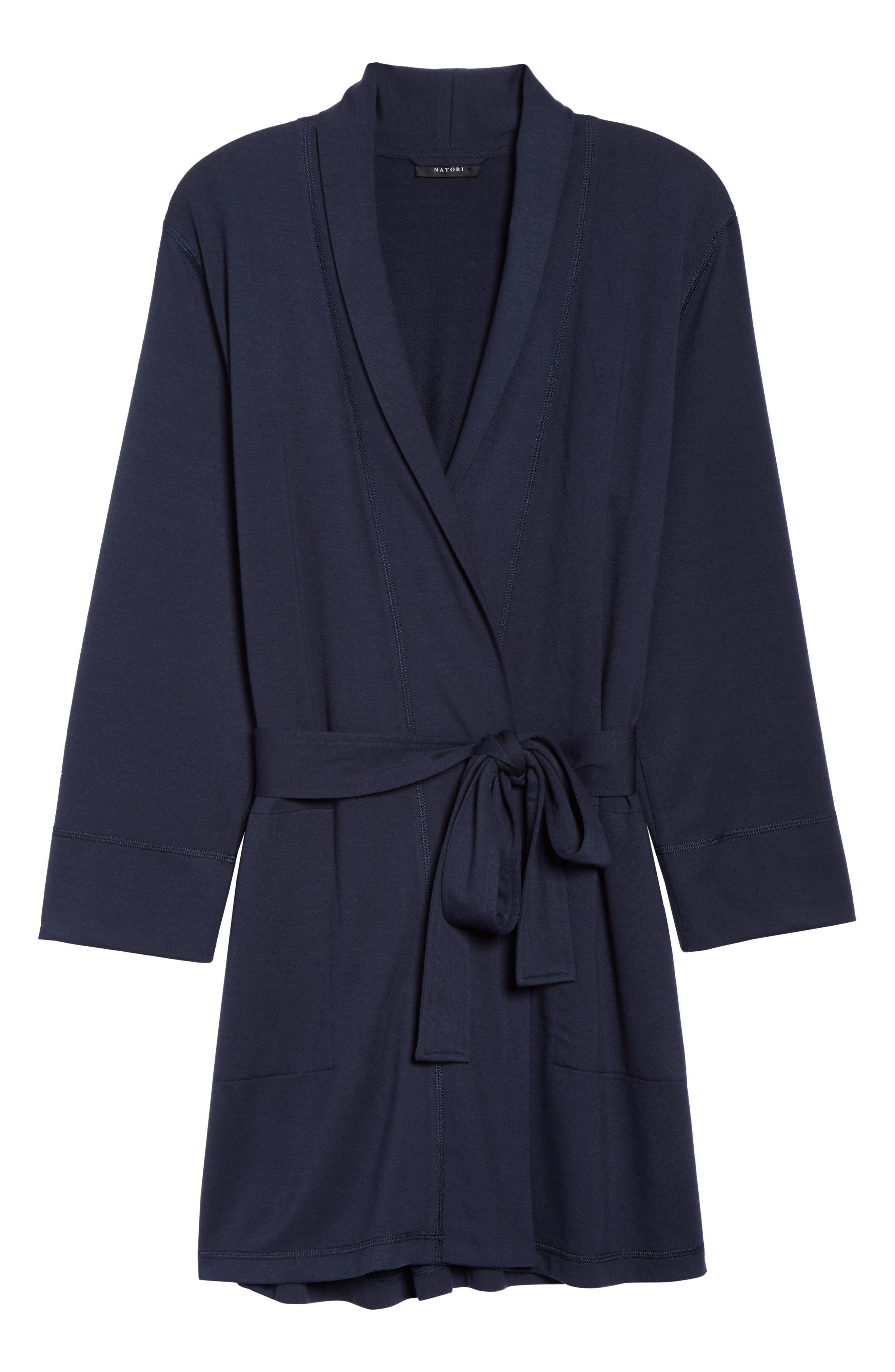 NATORI, Naya Short Robe, Alternate thumbnail 6, color, NIGHT BLUE