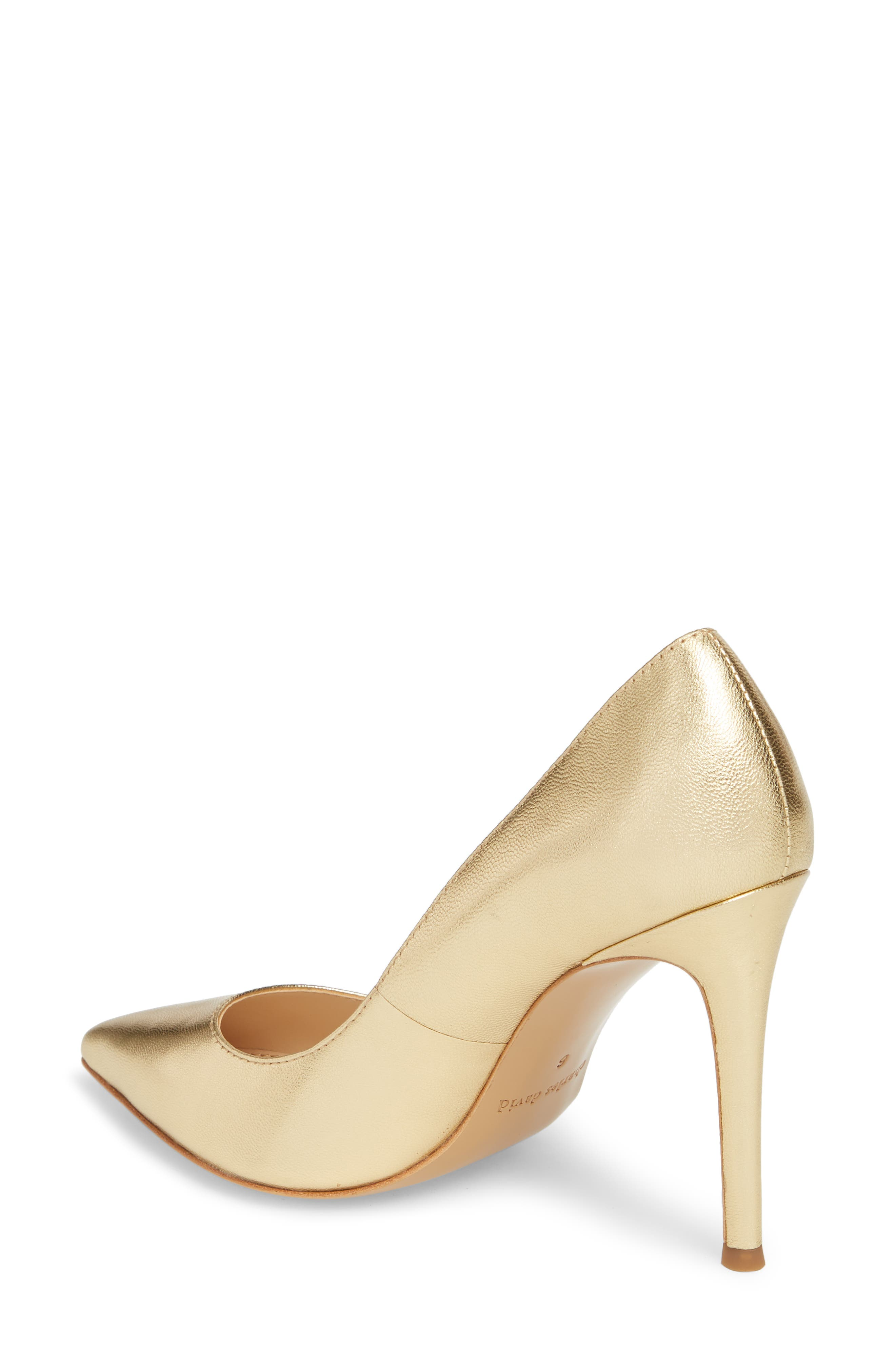 CHARLES DAVID, Calessi Pointy Toe Pump, Alternate thumbnail 2, color, GOLD LEATHER