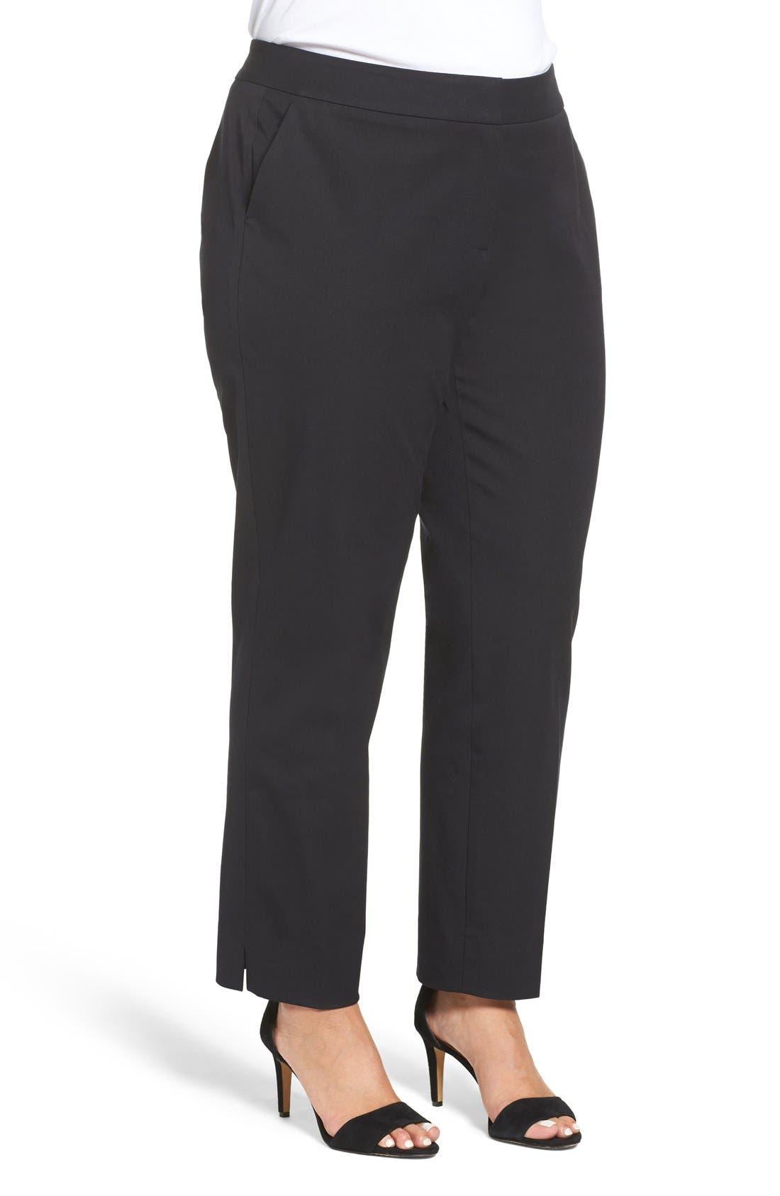 SEJOUR, Straight Leg Ankle Pants, Alternate thumbnail 10, color, BLACK