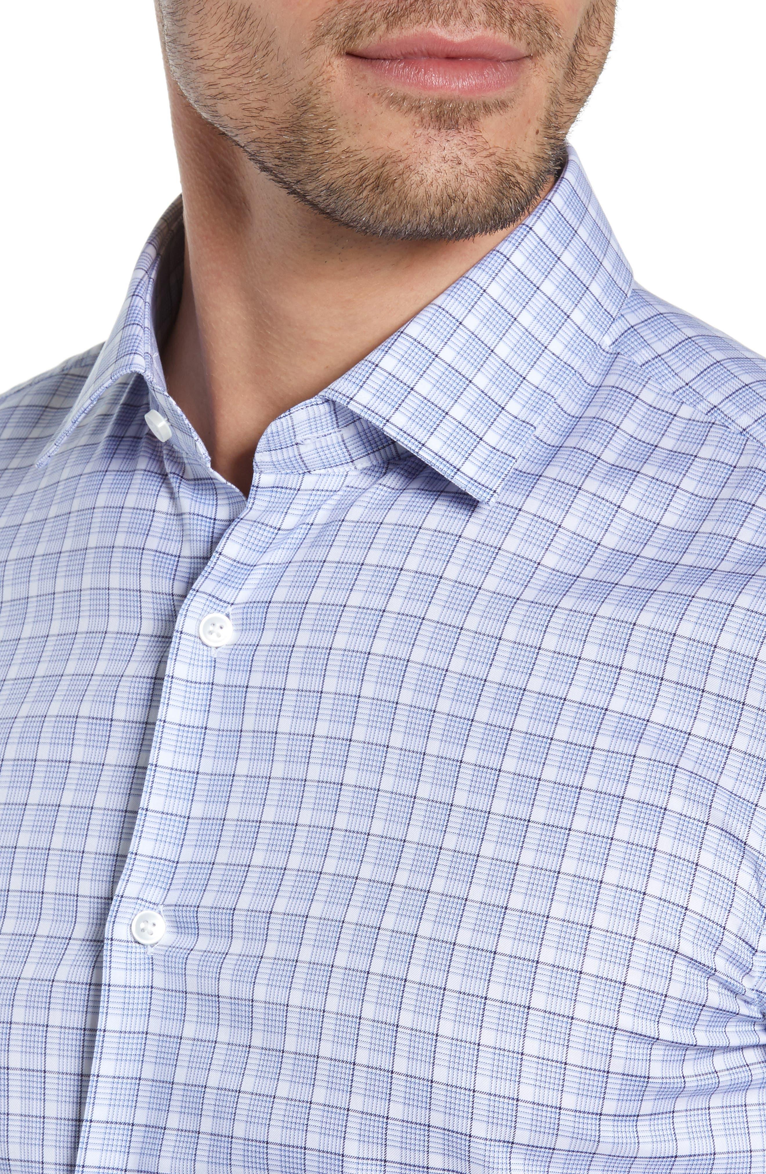 BOSS, Jenno Slim Fit Plaid Dress Shirt, Alternate thumbnail 2, color, BLUE