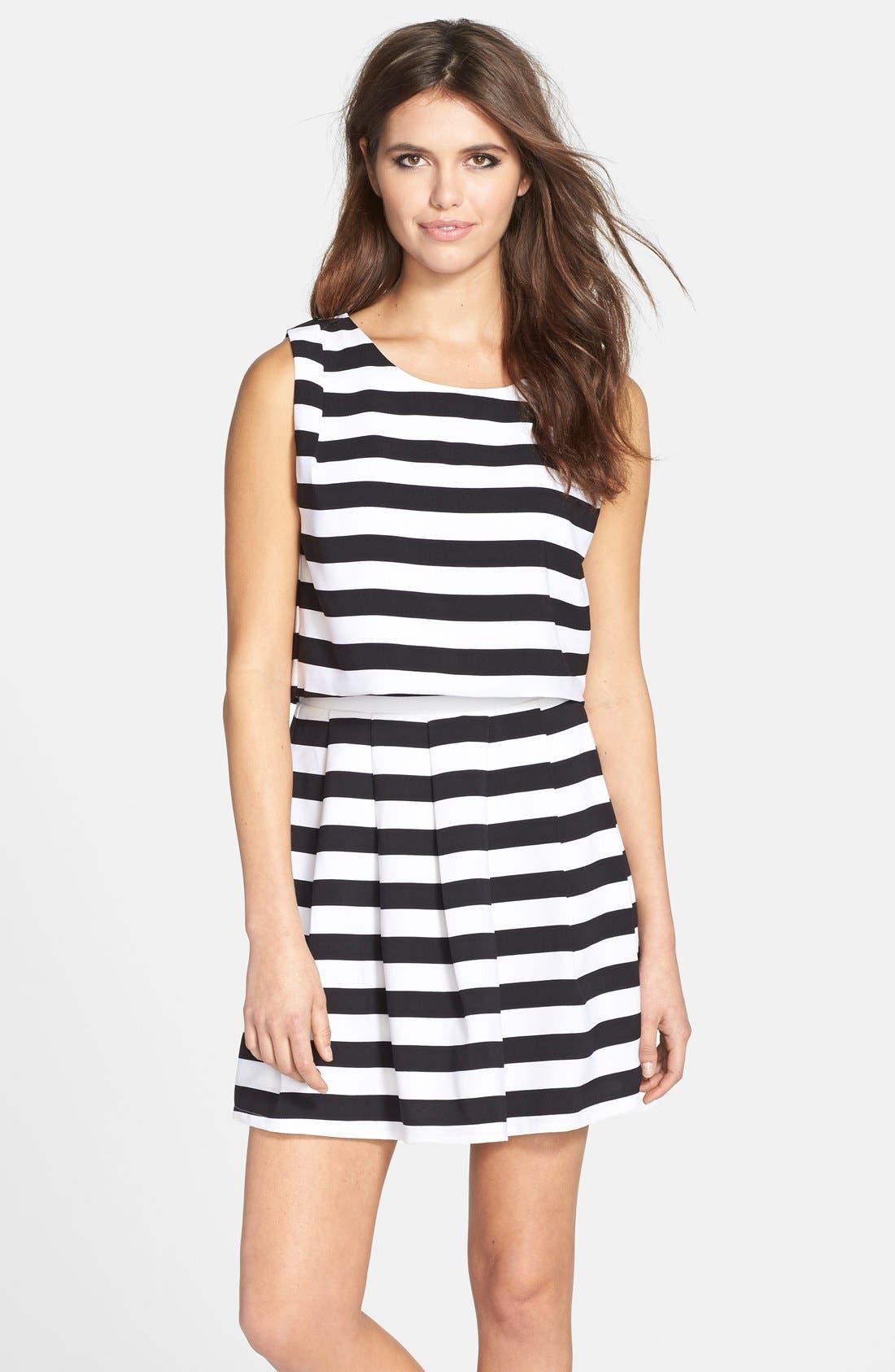 ELLIATT, 'Eclipse Stripe' Crepe Crop Top & Skirt, Main thumbnail 1, color, 003