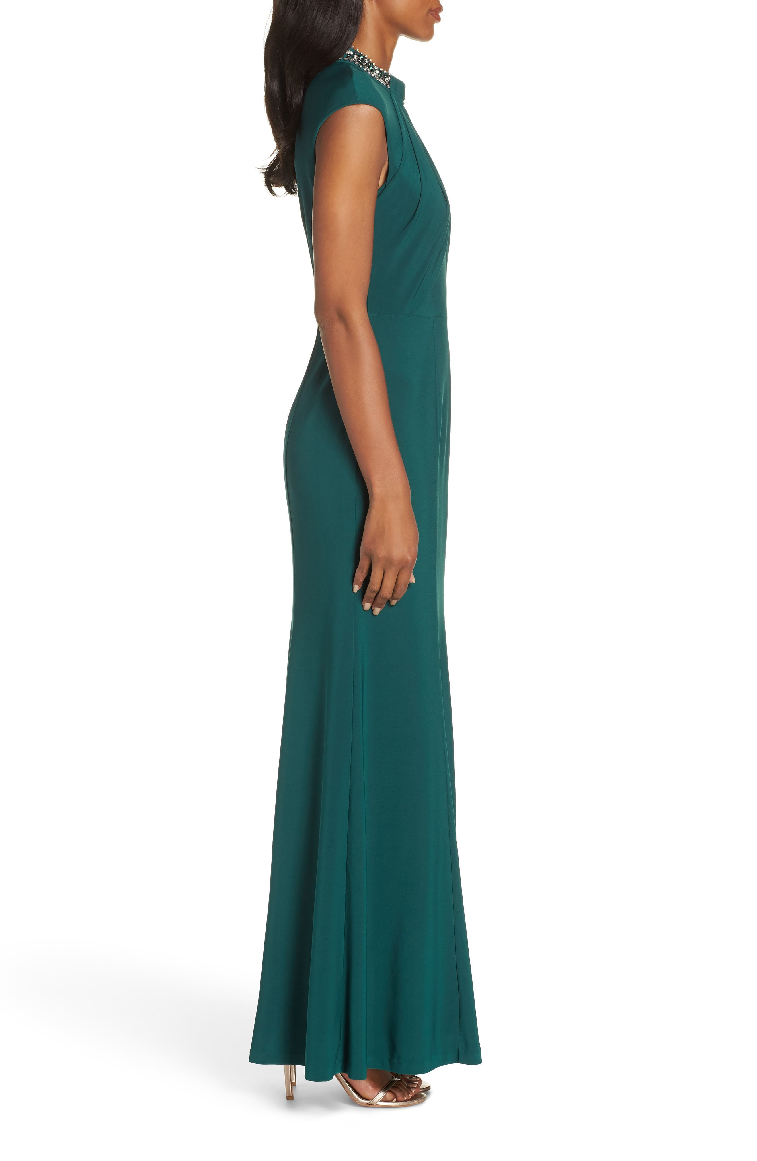 VINCE CAMUTO, Cap Sleeve Gown, Alternate thumbnail 4, color, 301