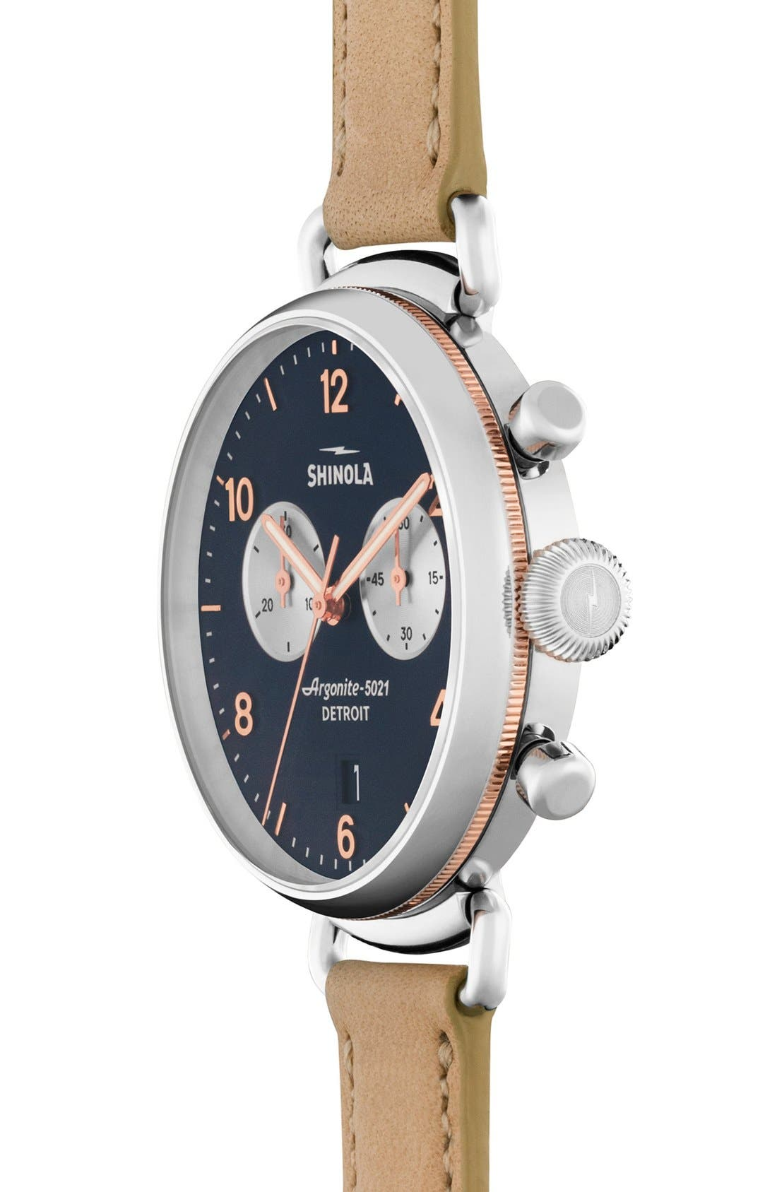 SHINOLA, 'The Canfield Chrono' Leather Strap Watch, 38mm, Alternate thumbnail 3, color, NATURAL/ MIDNIGHT BLUE
