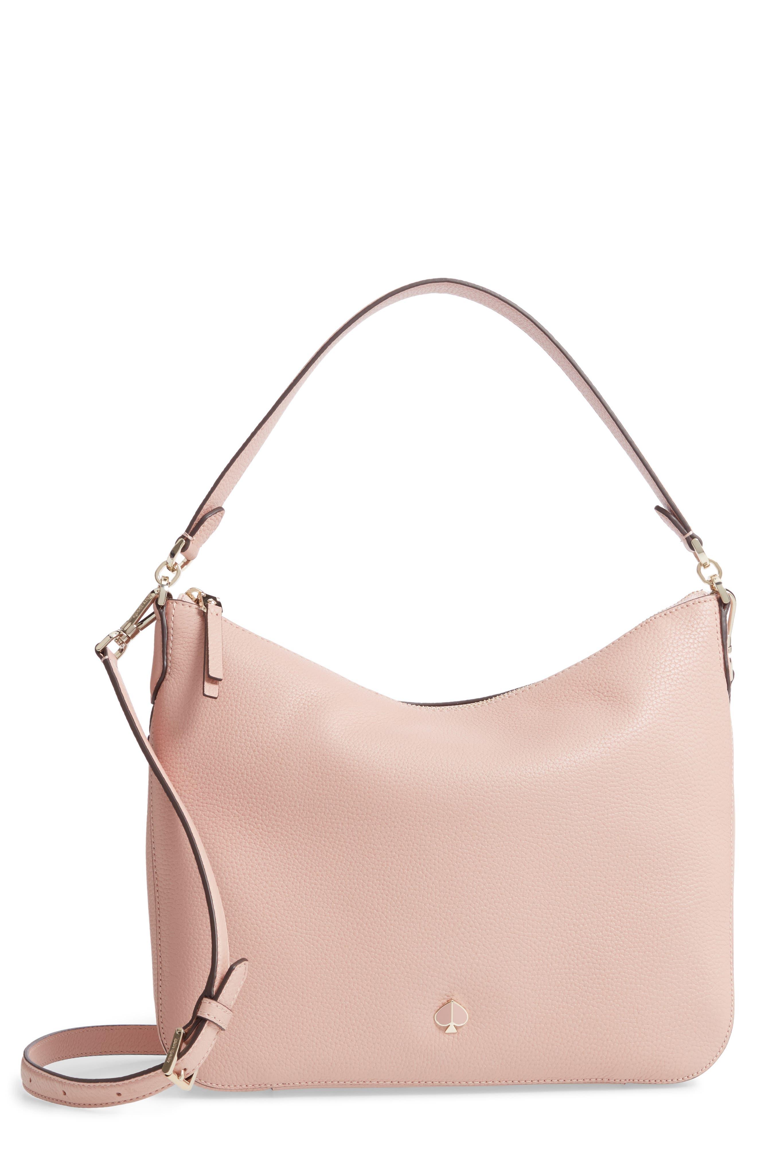 KATE SPADE NEW YORK medium polly leather shoulder bag, Main, color, FLAPPER PINK