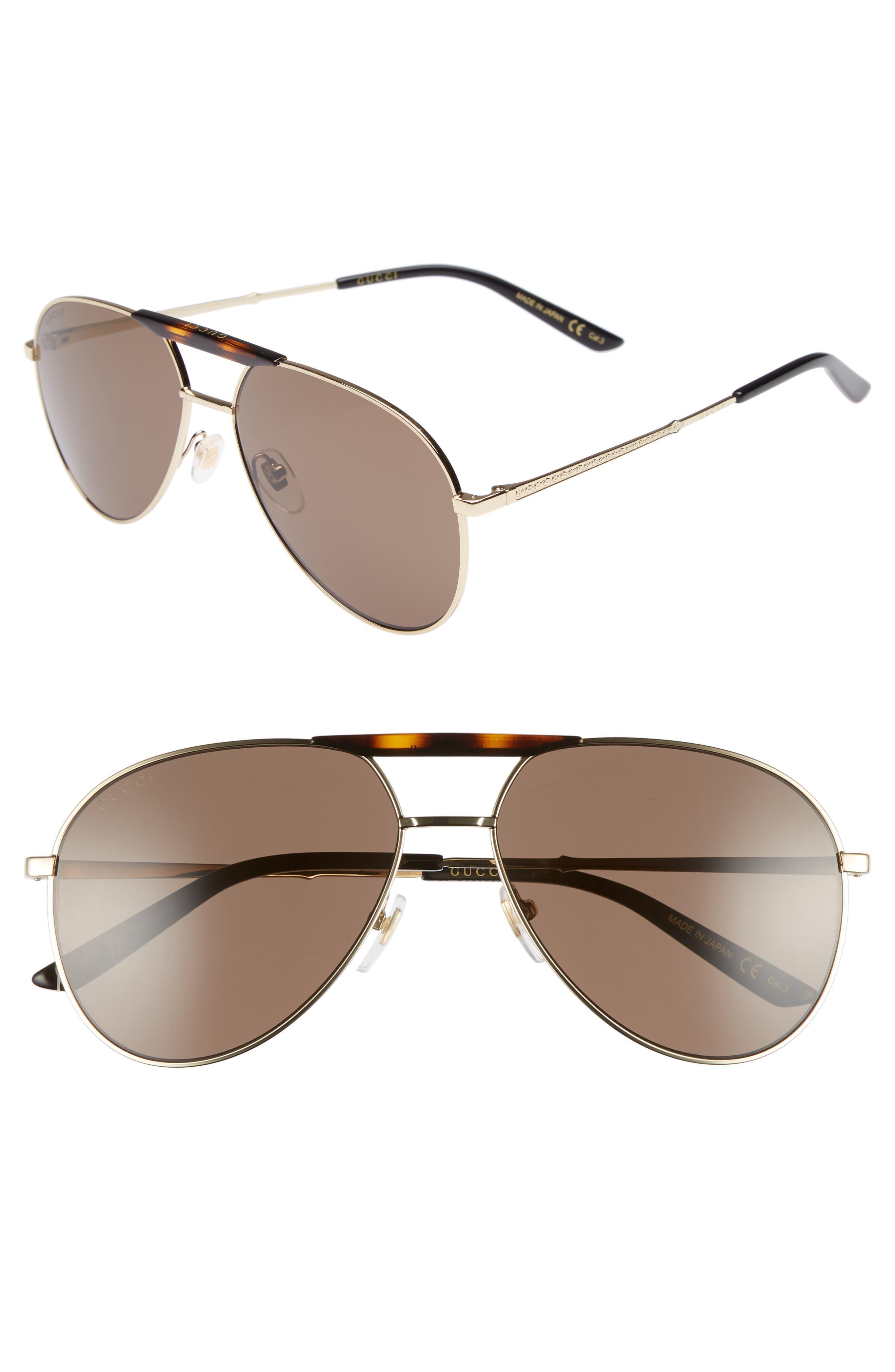 GUCCI Cruise 59mm Aviator Sunglasses, Main, color, GOLD/ BLACK